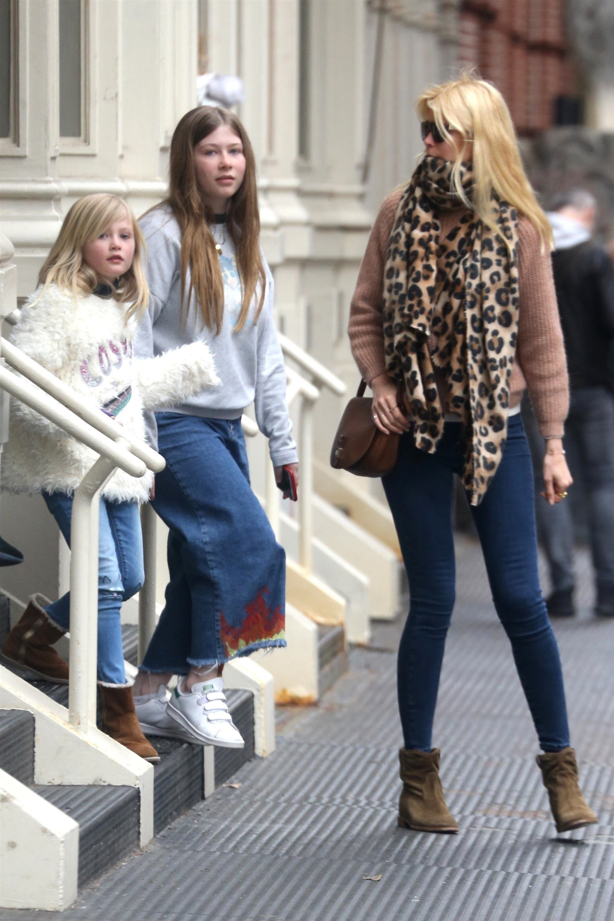 New York, NY  - Claudia Schiffer and her three kids, Caspar, Clementine and Cosima Drummond, step out in the