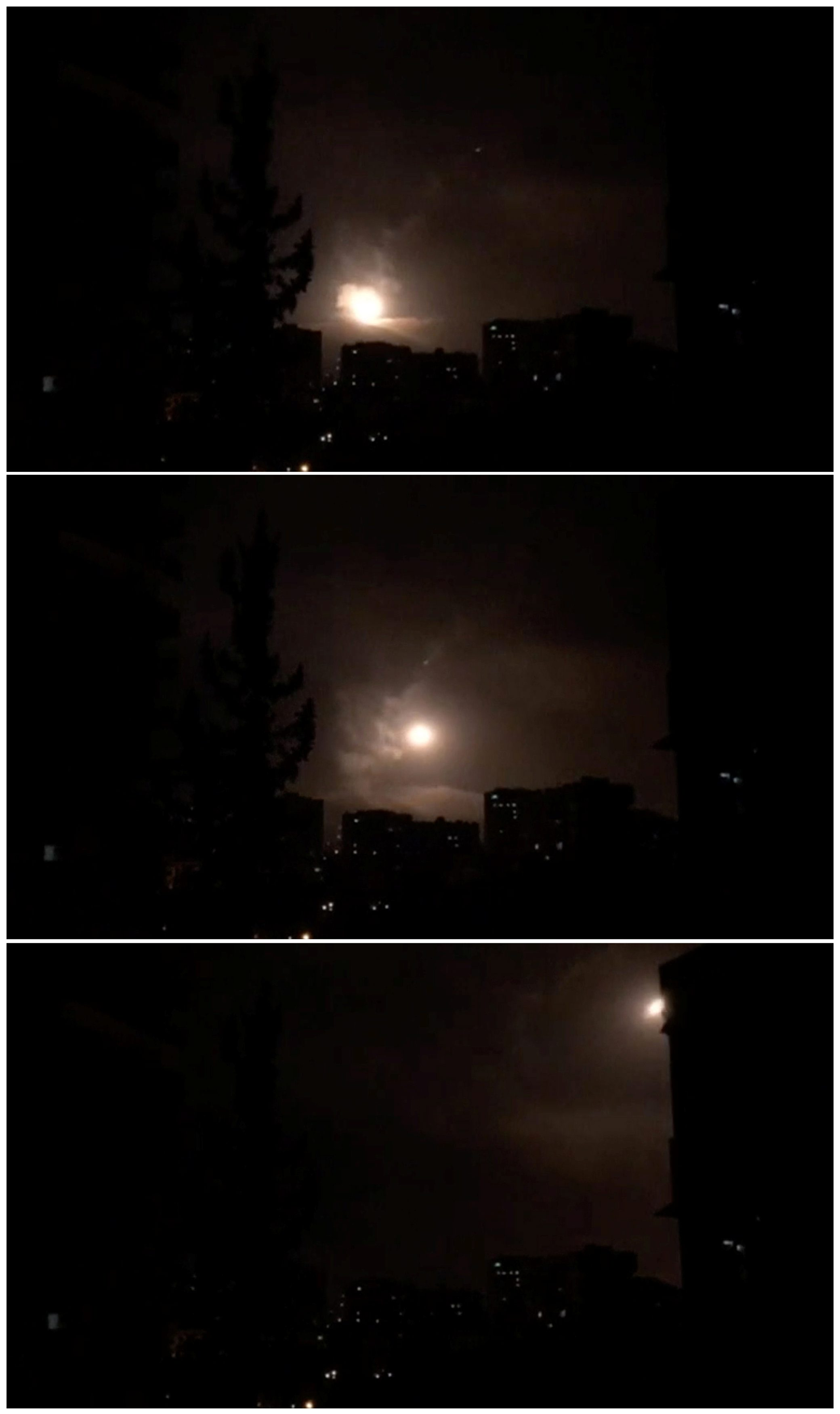 Syria air defences strike back after air strikes by U.S., British and French forces in Damascus, Syria in this combination photo of still images obtained from video dated early April 14, 2018. SYRIA TV via Reuters TV   MANDATORY CREDIT. SYRIA OUT. NO RESALES. NO ARCHIVE