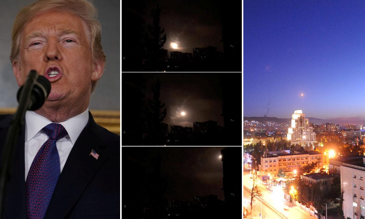 lijevo: Donald Trump tijekom obraćanja naciji; u sredini: djelovanje sirijske protuzračne obrane u Damasku; desno: projektil nad Damaskom