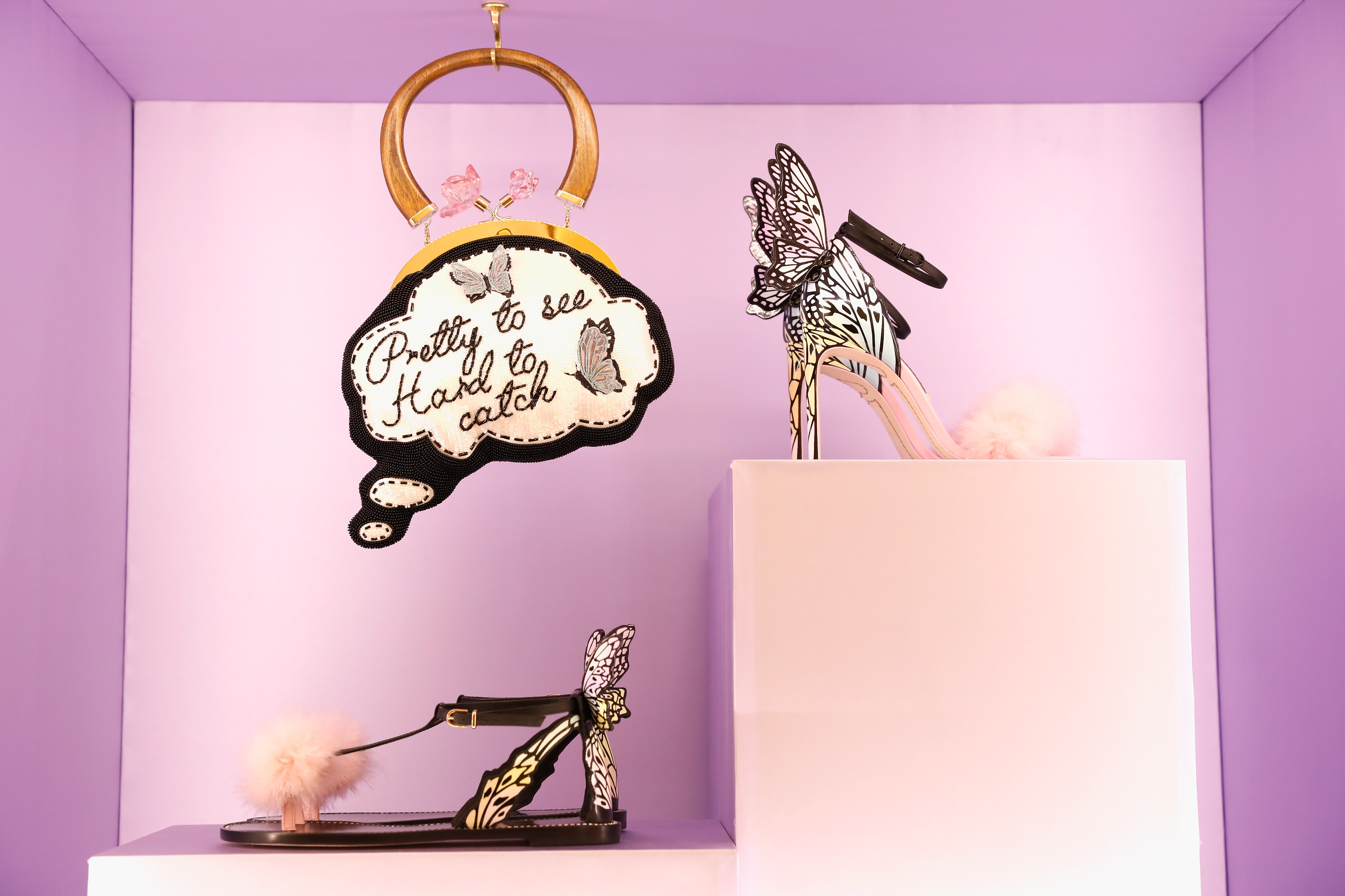 LONDON, ENGLAND - SEPTEMBER 18:  Fashion accessories on display at the Sophia Webster SS18 Presentation at The Portico Rooms, Somerset House on September 18, 2017 in London, England.  (Photo by Tristan Fewings/Getty Images)
