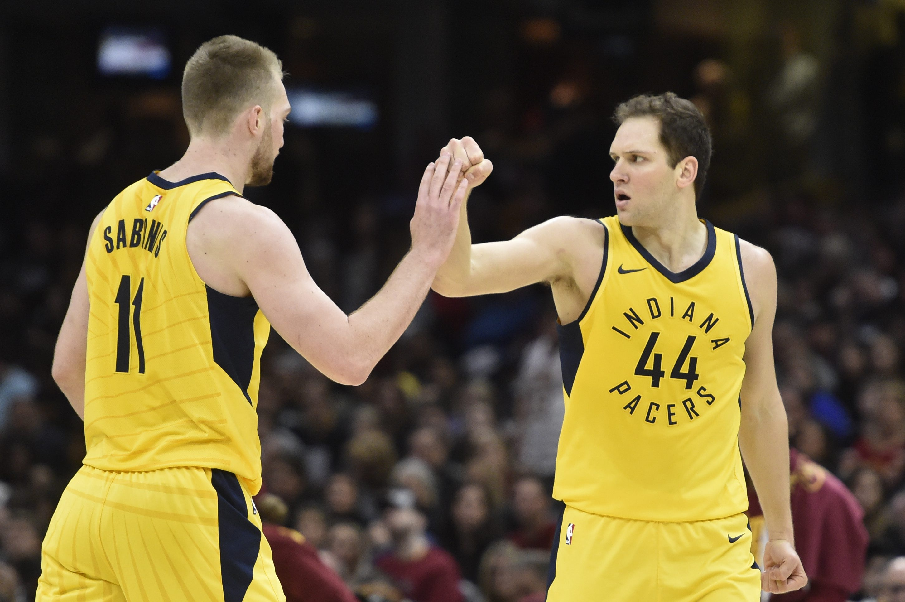 Apr 15, 2018; Cleveland, OH, USA; Indiana Pacers forward Bojan Bogdanovic (44) and center Domantas Sabonis (11) celebrate in the second quarter against the Cleveland Cavaliers in game one of the first round of the 2018 NBA Playoffs at Quicken Loans Arena. Mandatory Credit: David Richard-USA TODAY Sports
