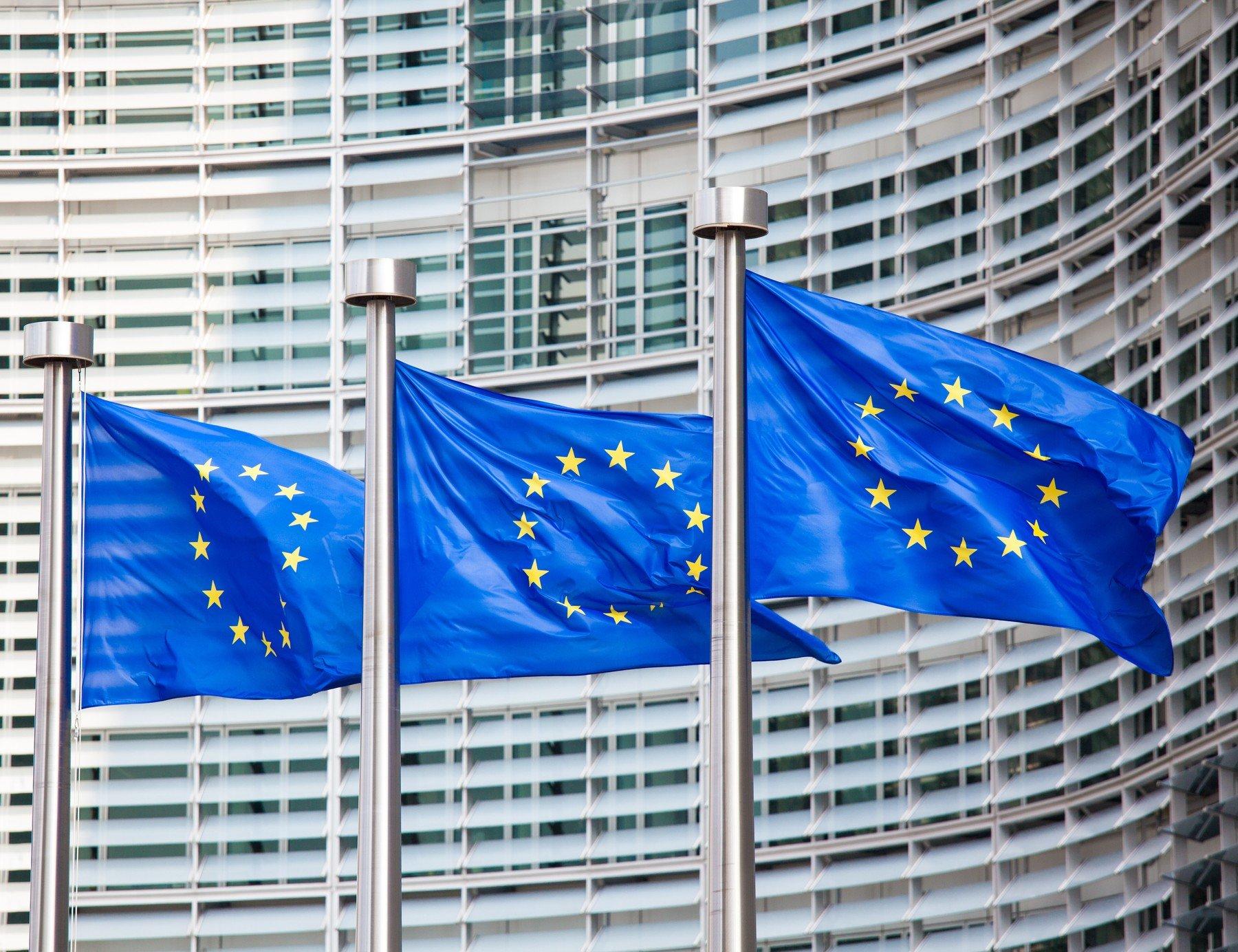 Zastave EU ispred sjedišta EK u Bruxellesu