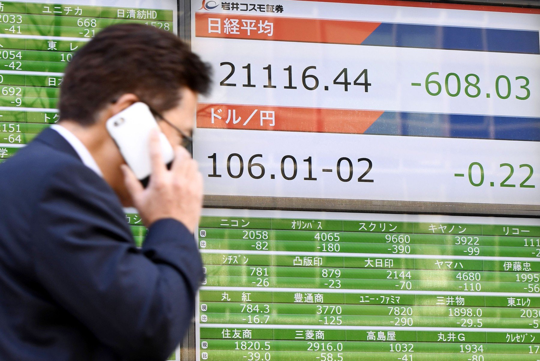 Ilustracija, Nikkei indeks u padu