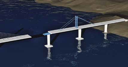 Nakon postavljanja rasponskih konstrukcija slijedi međusobno spajanje trupa mosta