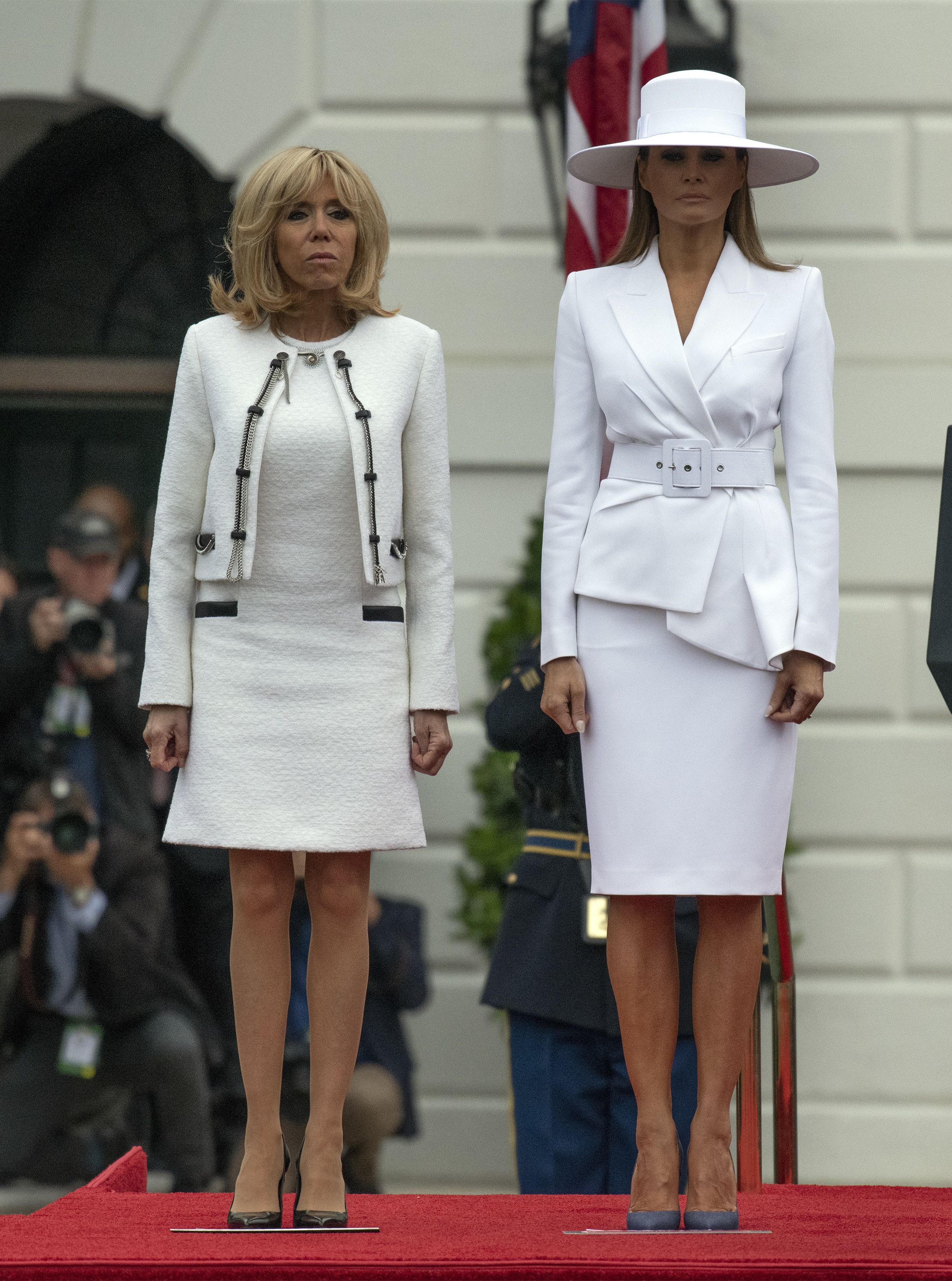 April 24, 2018 - Washington, District of Columbia, United States of America - United States President Donald J. Trump and first lady Melania Trump host an arrival ceremony for President Emmanuel Macron of France and his wife, Brigitte Macron, on the South Lawn of the White House in Washington, DC on Tuesday, April 24, 2018.. <P> Pictured: Brigitte Macron,, Melania Trump <B>Ref: SPL1687150  240418  </B><BR/> Picture by: Zuma / Splash News<BR/> </P><P> <B>Splash News and Pictures</B><BR/> Los Angeles:310-821-2666<BR/> New York:212-619-2666<BR/> London:870-934-2666<BR/> <span id=