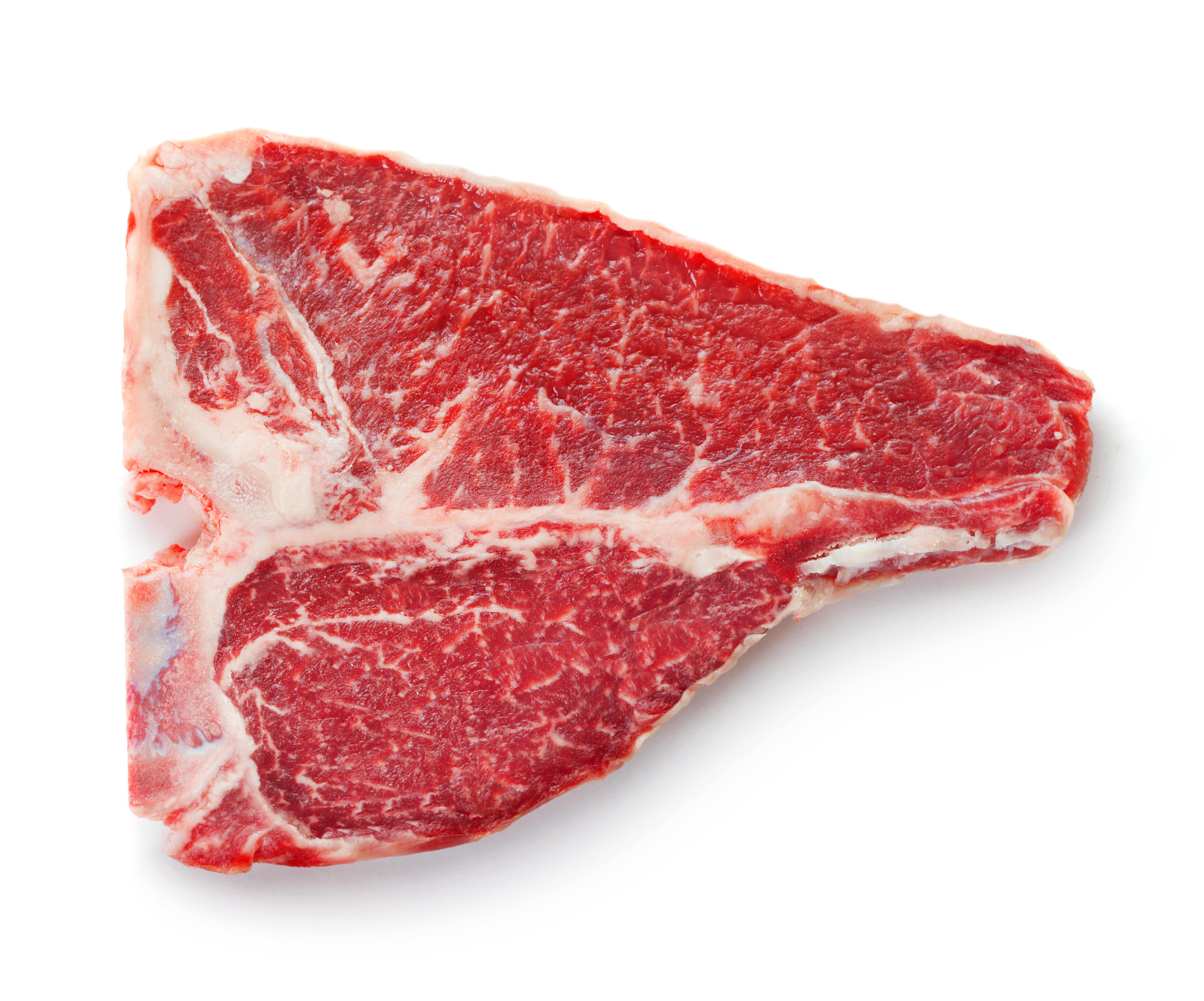 fresh raw t-bone beef steak isolated on white background