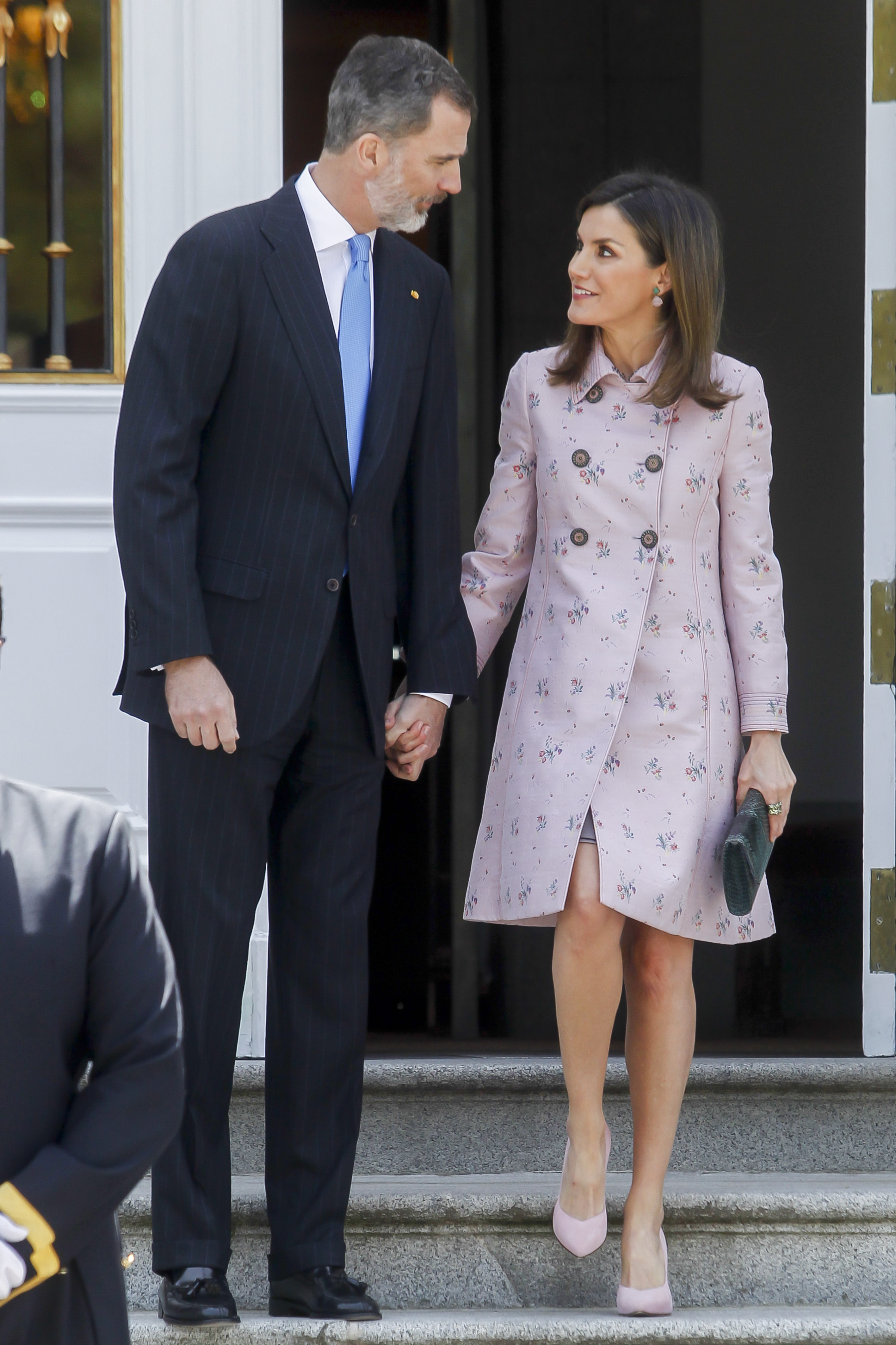 King Felipe and Queen Letizia attend a Lunch with Enrique Pena Nieto and Angelica Rivera at Zarzuela Palace in Madrid, Spain. <P> Pictured: Queen Letizia and King Felipe <B>Ref: SPL1686616  250418  </B><BR/> Picture by: Michael Murdock / Splash News<BR/> </P><P> <B>Splash News and Pictures</B><BR/> Los Angeles:310-821-2666<BR/> New York:212-619-2666<BR/> London:870-934-2666<BR/> <span id=