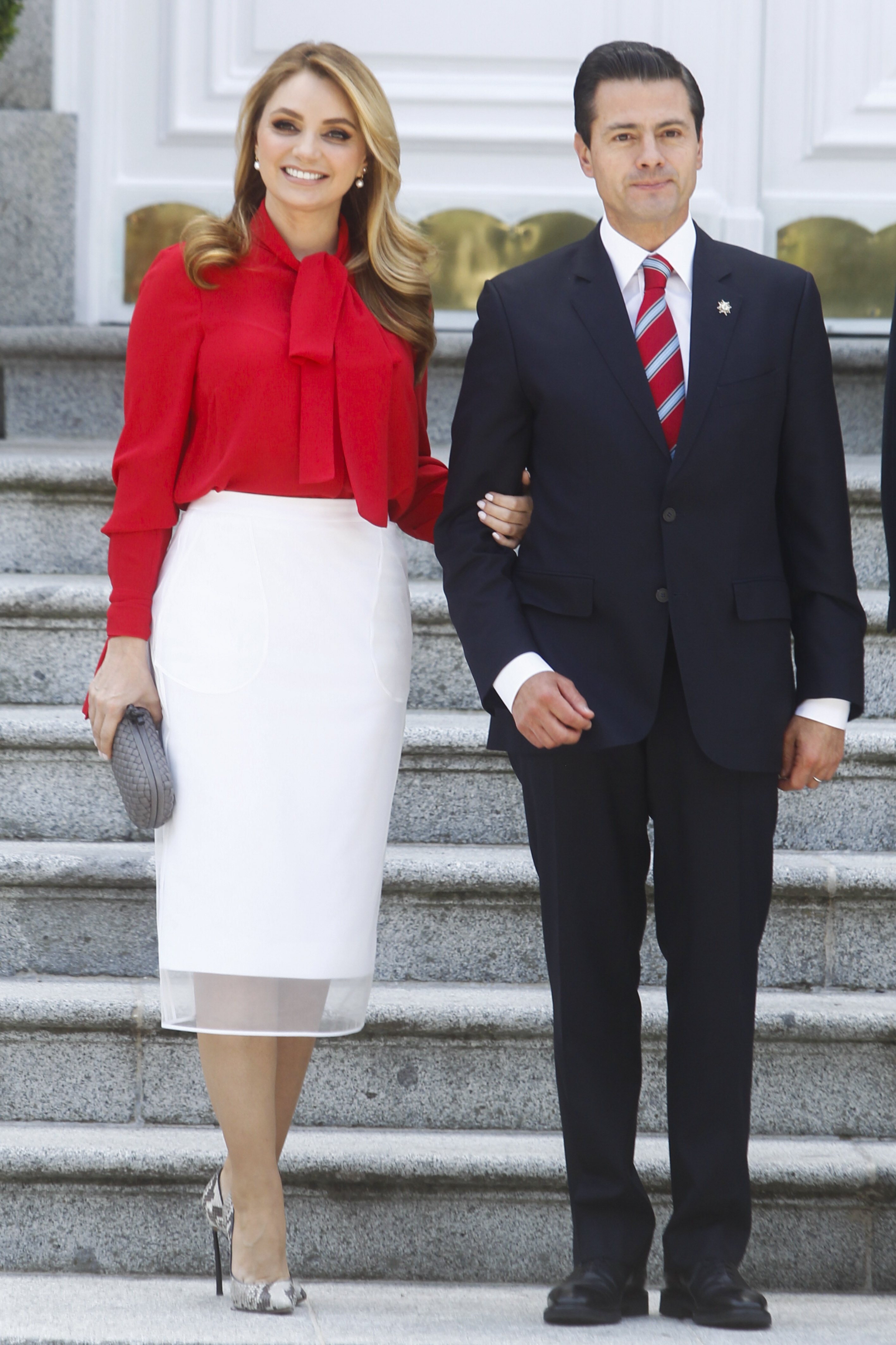 King Felipe and Queen Letizia attend a Lunch with Enrique Pena Nieto and Angelica Rivera at Zarzuela Palace in Madrid, Spain. <P> Pictured: Enrique Pe�a Nieto and Angelica Rivera <B>Ref: SPL1686616  250418  </B><BR/> Picture by: Michael Murdock / Splash News<BR/> </P><P> <B>Splash News and Pictures</B><BR/> Los Angeles:310-821-2666<BR/> New York:212-619-2666<BR/> London:870-934-2666<BR/> <span id=
