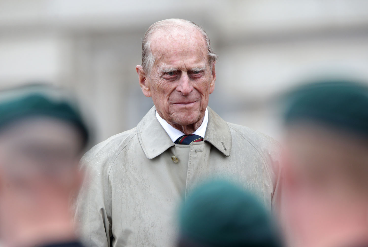 LONDON, ENGLAND - AUGUST 2:  Prince Philip, Duke of Edinburgh in his role as Captain General, Royal Marines, makes his final individual public engagement as he attends a parade to mark the finale of the 1664 Global Challenge, on the Buckingham Palace Forecourt on August 2, 2017 in London, England. (Photo by Yui Mok - WPA Pool/Getty Images)