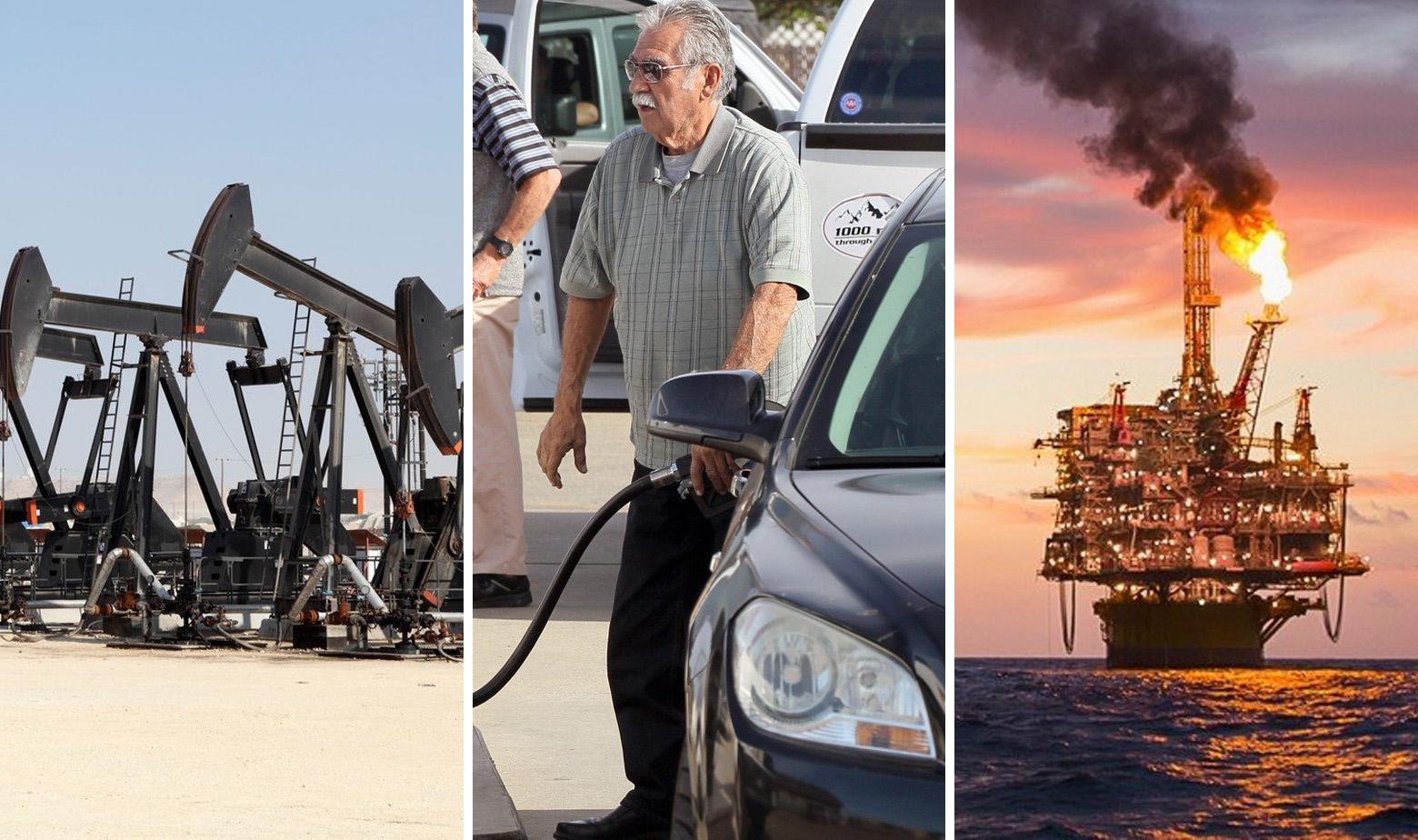 Ilustracija: naftno polje u Bahreinu, čovjek toči benzin i naftna platforma Corpus Christi u Meksičkom zaljevu