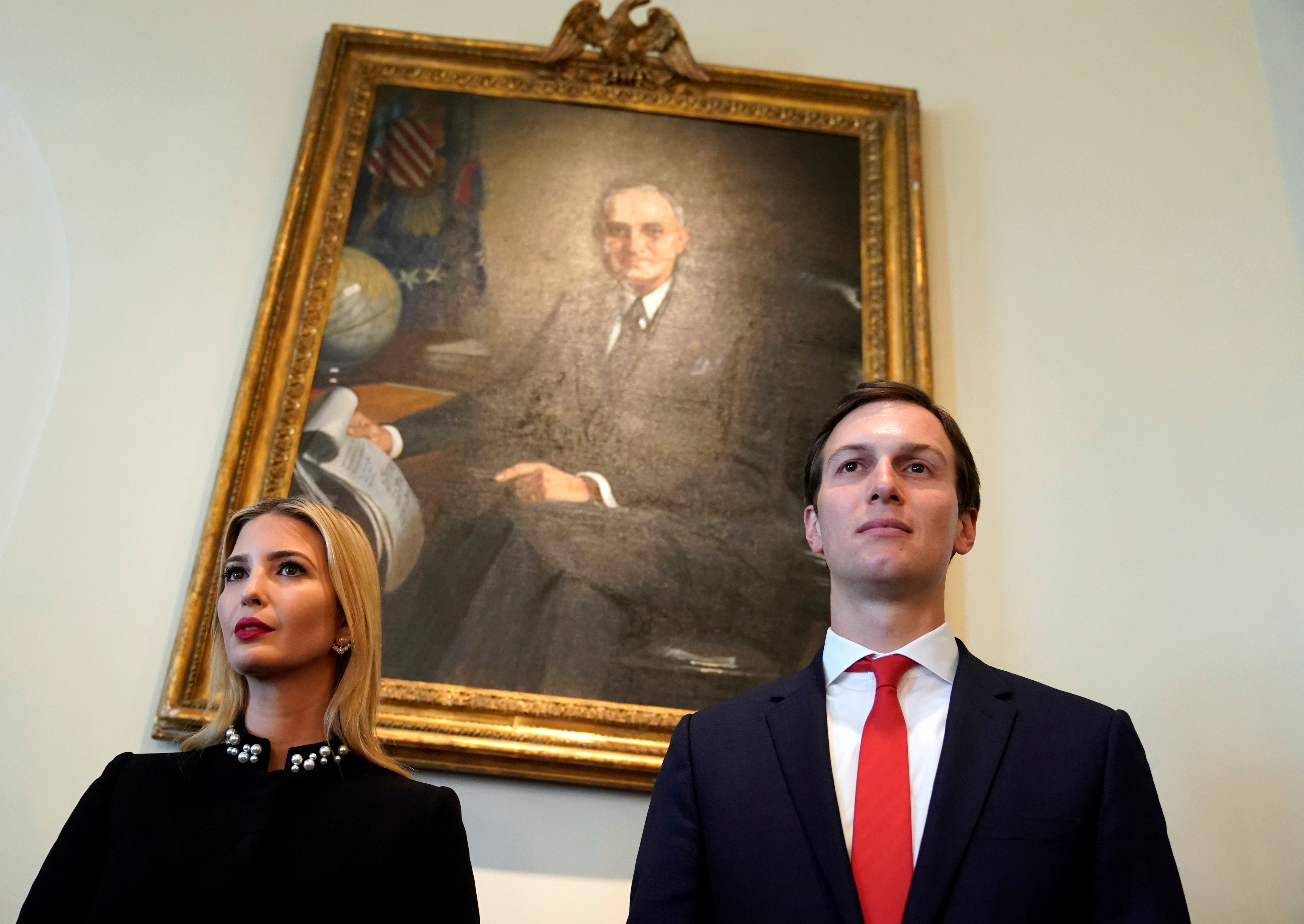 White House senior advisers Ivanka Trump and Jared Kushner listen as U.S. President Donald Trump holds a cabinet meeting at the White House in Washington, U.S., March 8, 2018. REUTERS/Kevin Lamarque - RC1AB95484C0