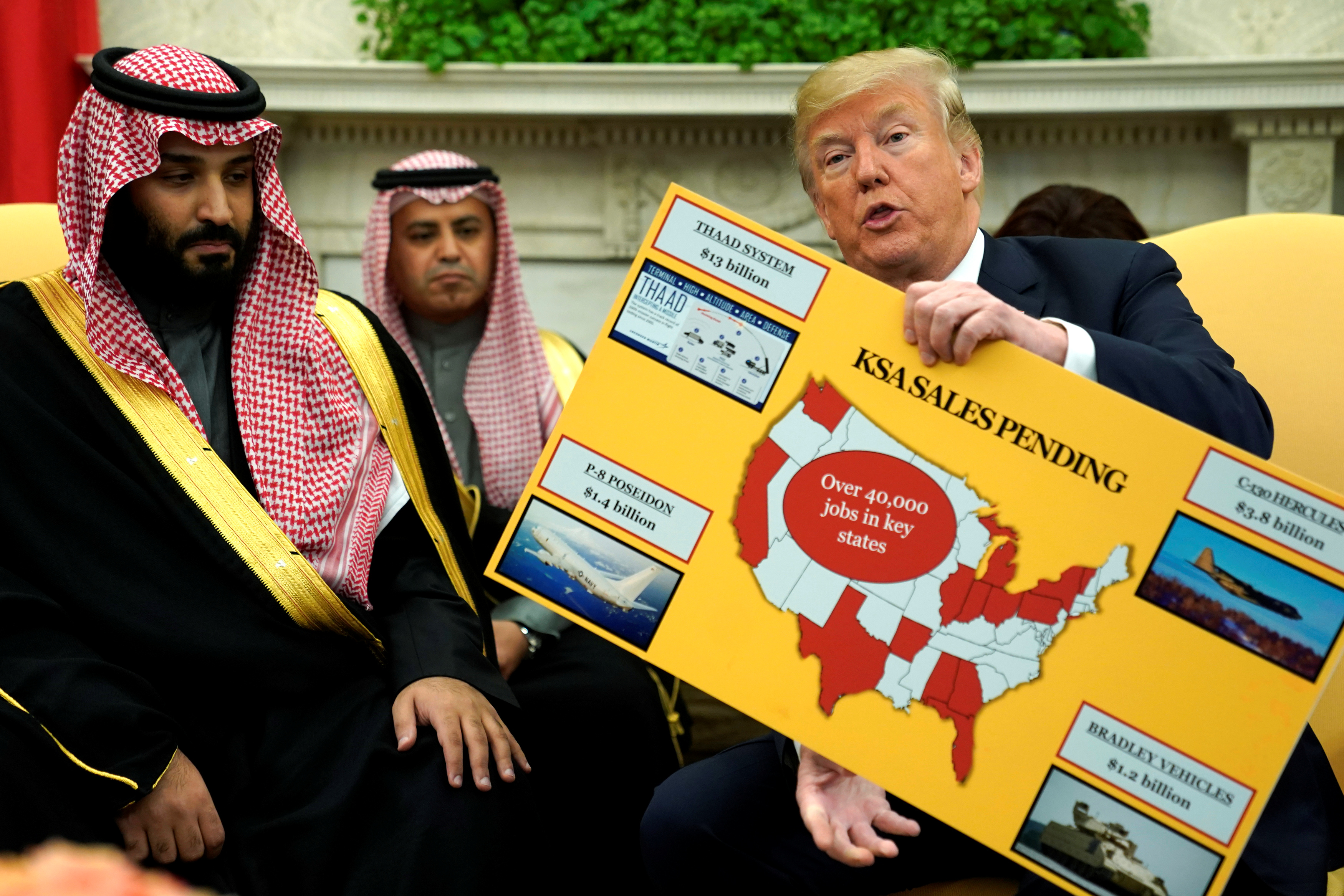 U.S. President Donald Trump holds a chart of military hardware sales as he welcomes Saudi Arabia's Crown Prince Mohammed bin Salman in the Oval Office at the White House in Washington, U.S. March 20, 2018.  REUTERS/Jonathan Ernst - RC14FF352EF0