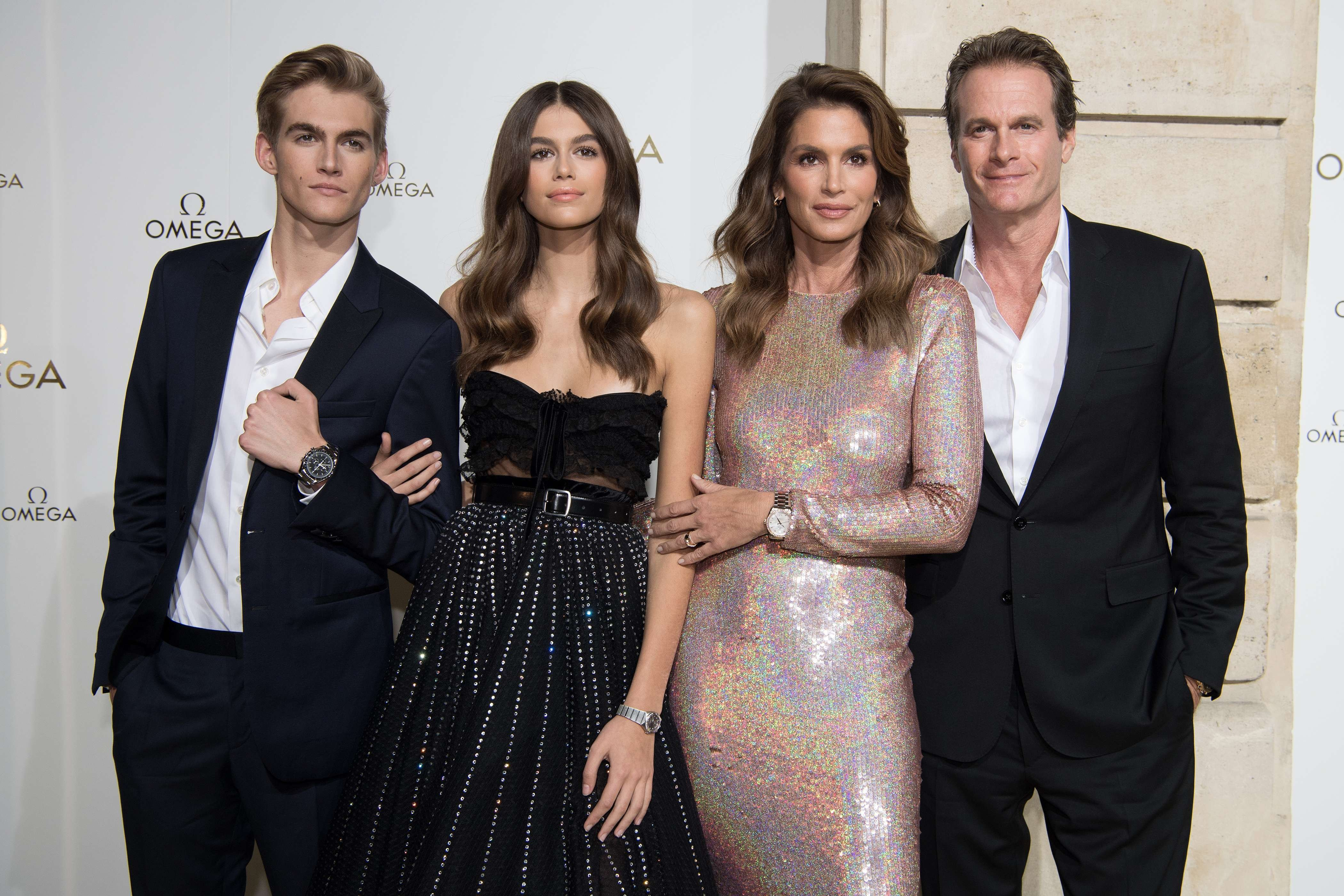Presley Gerber,Kaia Gerber,Cindy Crawford and Rande Gerber attend 'Her Time' Omega Photocall as part of the Paris Fashion Week Womenswear Spring/Summer 2018 on September 29, 2017 //NIVIERE_004NIV/Credit:David Niviere/SIPA/1709302000, Image: 351060169, License: Rights-managed, Restrictions: , Model Release: no, Credit line: Profimedia, TEMP Sipa Press