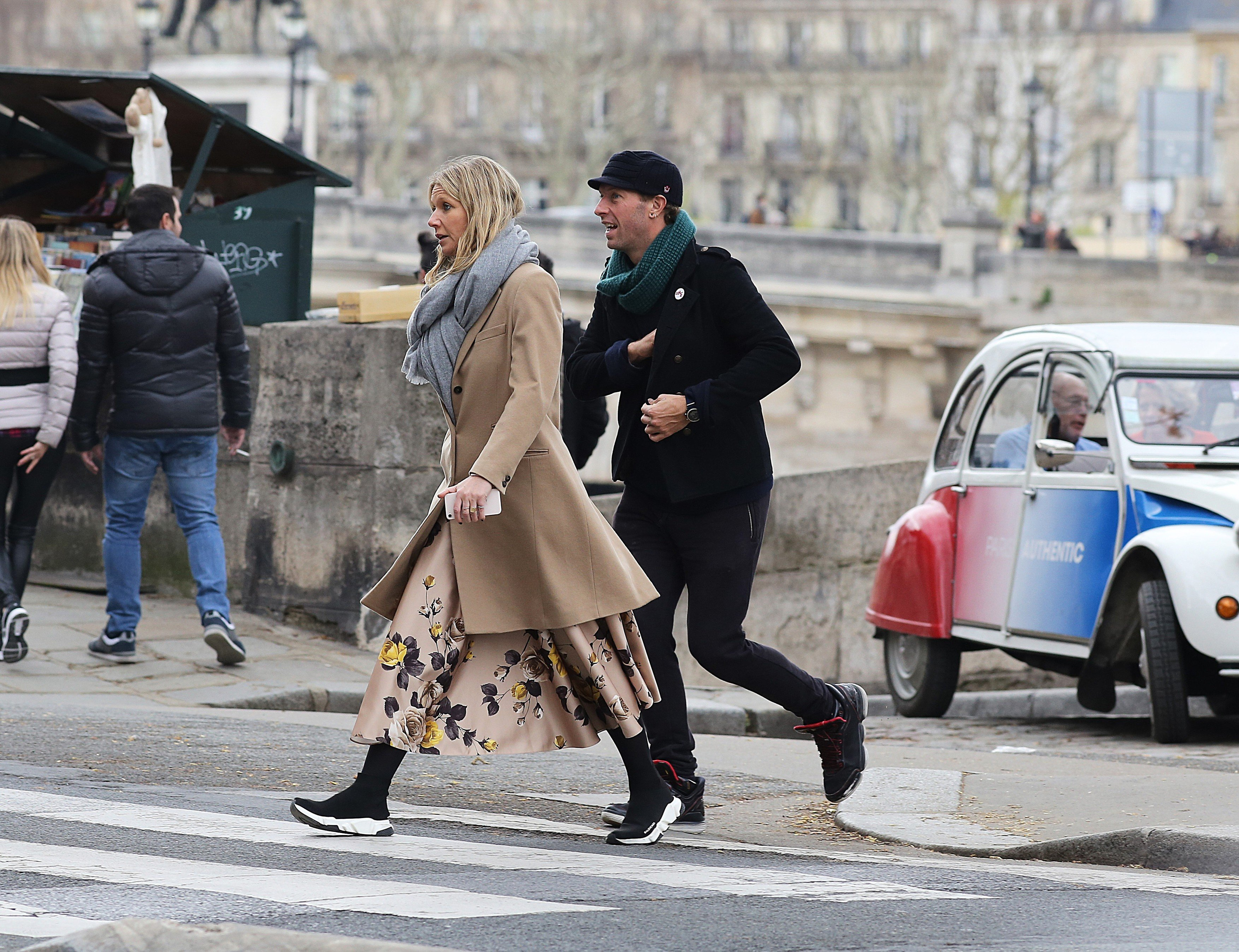 EXCLUSIVE: *NO WEB UNTIL 2200 GMT 4TH APRIL* Coldplay singer, Chris Martin and US Actress Gwyneth Paltrow spend easter weekend in Paris with their kids. The couple were seen walking along the banks of the Seine river in the French capital and in ST Germain des prés. Paris. The couple looked stylish for the outing as they indulged in conversation. 01 Apr 2018, Image: 367653763, License: Rights-managed, Restrictions: NO Andorra, Argentina, Austria, Belgium, Bolivia, Chile, China, Costa Rica, Croatia, Czech Republic, El Salvador, Estonia, Finland, France, French Guiana, French Polynesia, French Southern Ter, Greece, Guadeloupe, Guatemala, Honduras, Hungary, Japan, Latvia, Lithuania, Macedonia, Mexico, Monaco, Netherlands, Paraguay, Peru, Poland, Portugal, Puerto Rico, Romania, Russia, South Africa, Spain, Sweden, Switzerland, Taiwan, Uruguay, Venezuela, Model Release: no, Credit line: Profimedia, Mega Agency