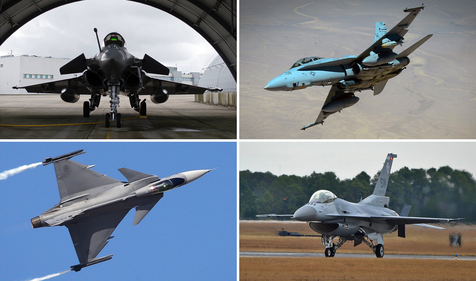 Gore: Dassault Rafale i F-18 Super Hornet. Dolje: JAS 39 Gripen i F-16V
