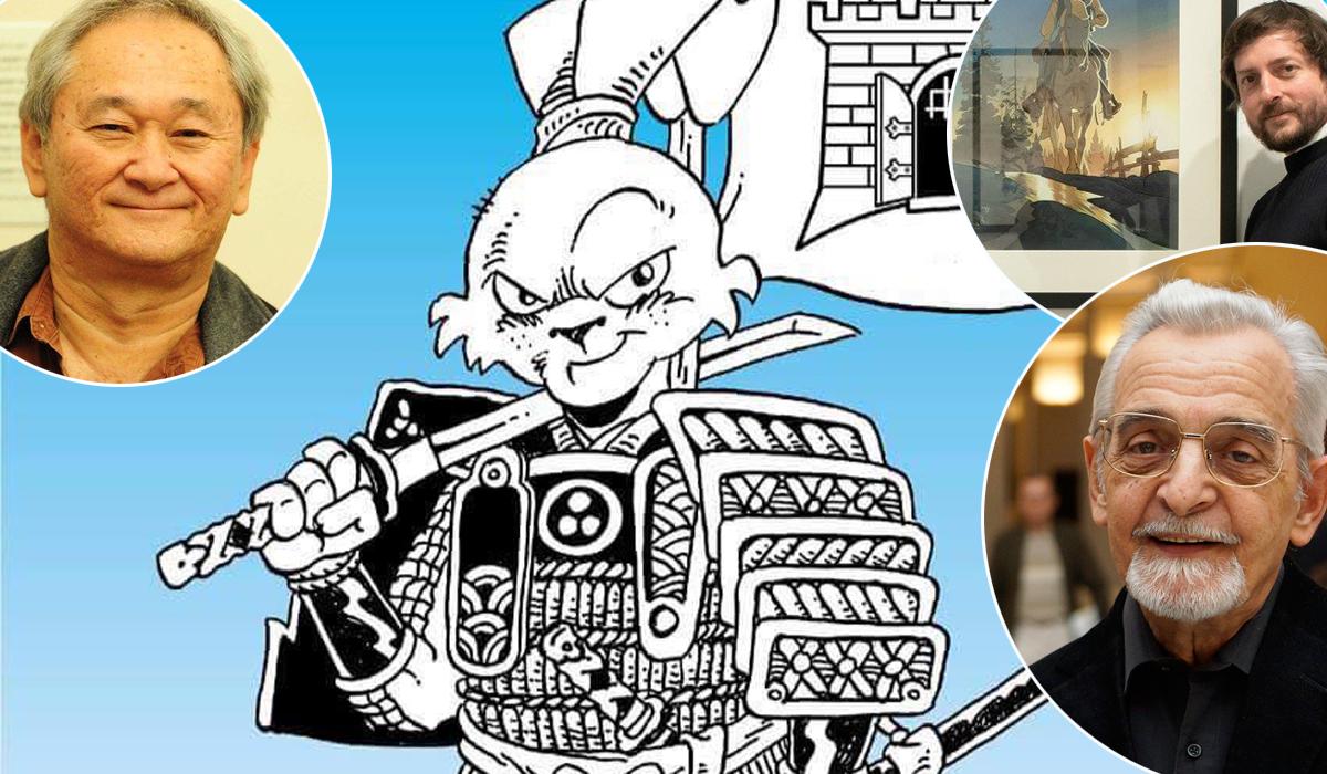Stan Sakai (u krugu lijevo) i njegova ilustracija koju je napravio za Zagreb Comic Con 2018, Matthieu Bonhomme (u krugu desno) i Jules