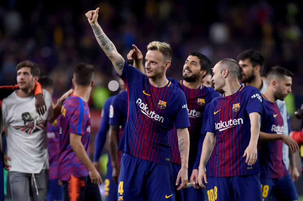 BARCELONA, SPAIN - MAY 06: Ivan Rakitic of Barcelona shows appreciation to the fans after the La Liga match between Barcelona and Real Madrid at Camp Nou on May 6, 2018 in Barcelona, Spain.  (Photo by Alex Caparros/Getty Images)