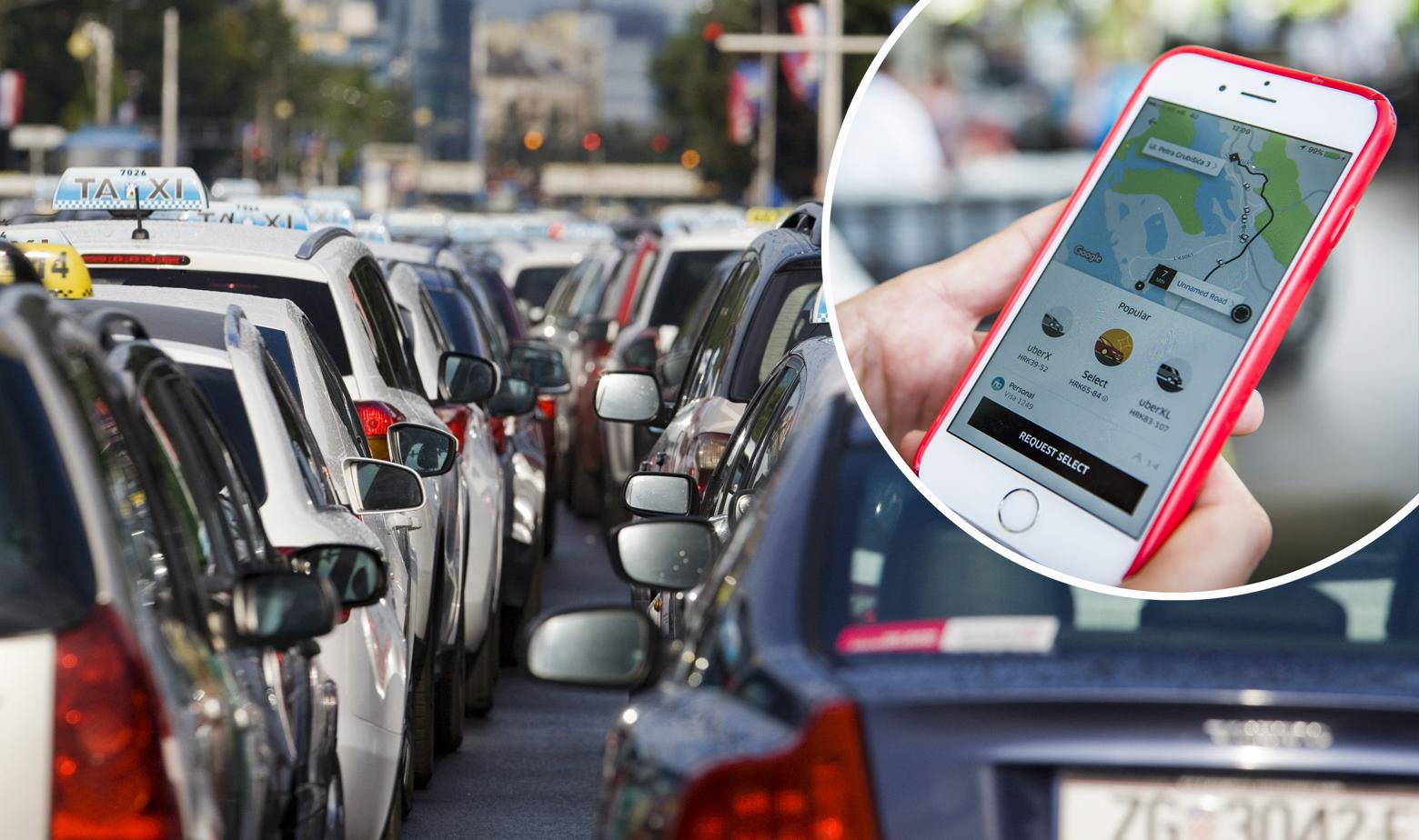 Taksiji i aplikacija Uber u krugu
