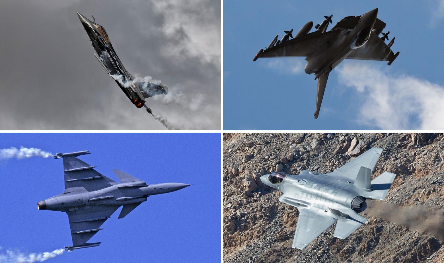 Gore: Dassault Rafale i Eurofighter Typhoon. Dolje: JAS 39 Gripen i F-35 JSF
