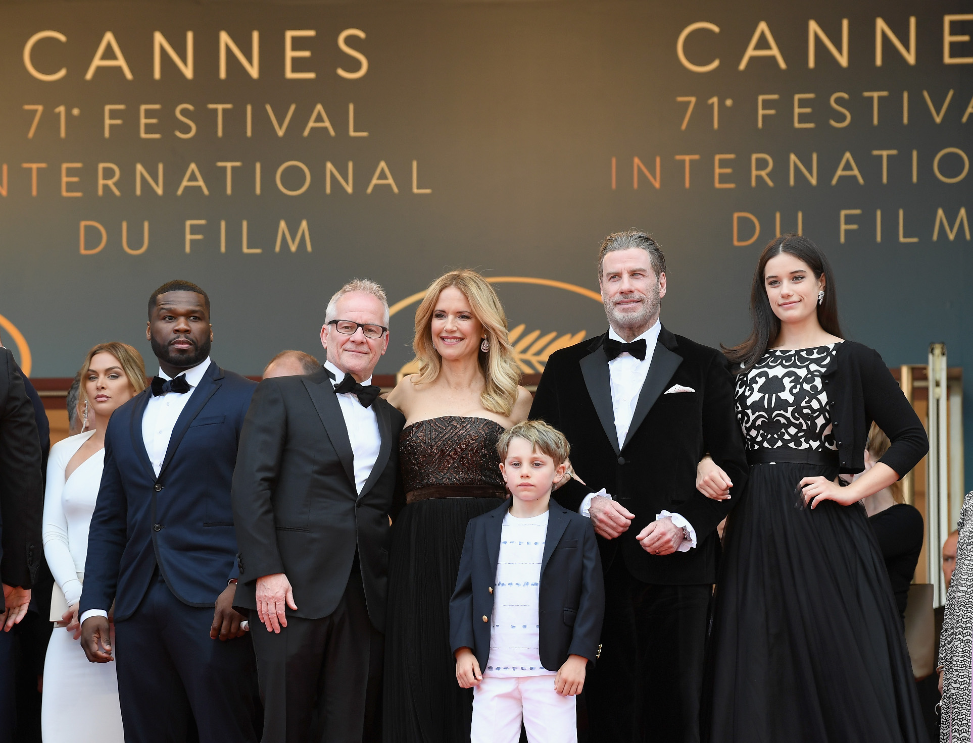 CANNES, FRANCE - MAY 15: (L-R) Curtis Jackson, Thierry Fremaux, Kelly Preston, Benjamin Travolta, John Travolta and Ella Travolta attend the screening of