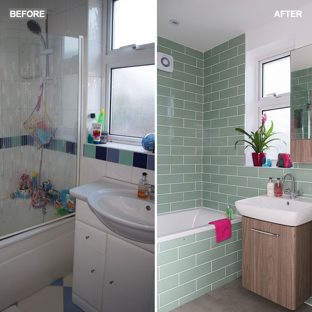 Green-bathroom-makeover-with-tropical-wallpaper-split