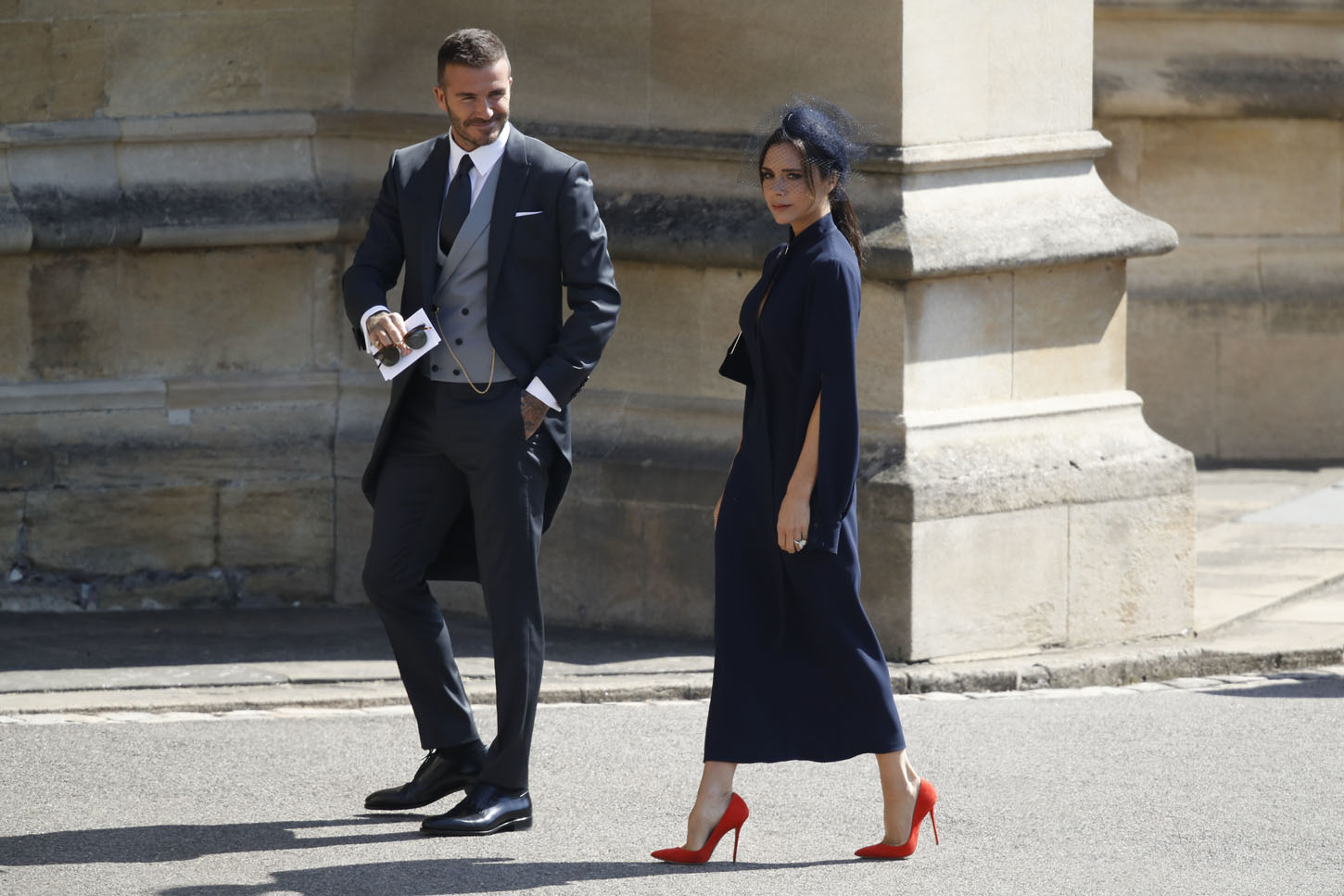 WINDSOR, UNITED KINGDOM - MAY 19:  David Beckham and Victoria Beckham arrive at St George's Chapel at Windsor Castle before the wedding of Prince Harry to Meghan Markle on May 19, 2018 in Windsor, England. (Photo by Odd ANDERSEN - WPA Pool/Getty Images)