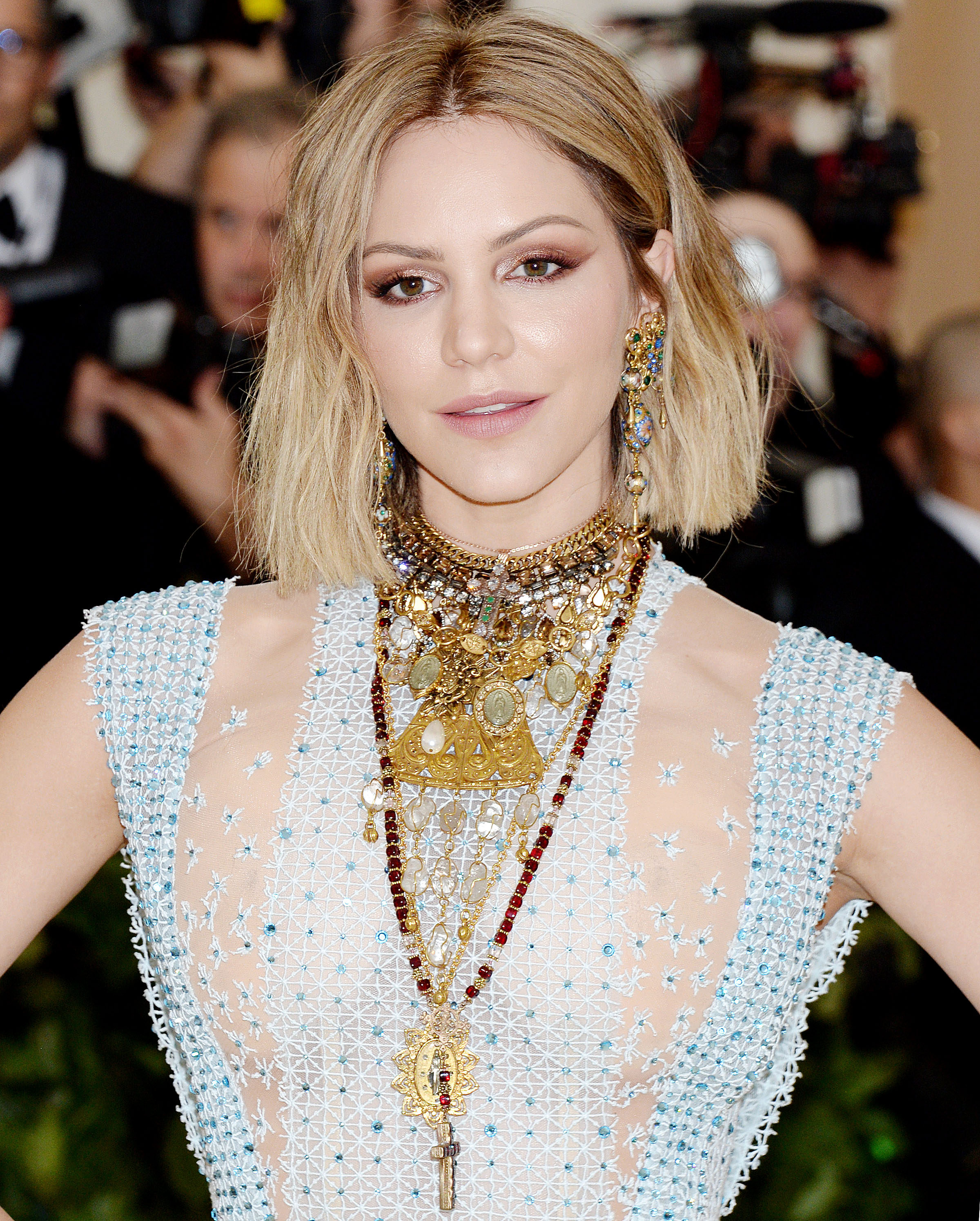 NO JUST JARED USAGE<BR/> 2018 Costume Institute Benefit: Celebrating the opening of Heavenly Bodies: Fashion and the Catholic Imagination - Arrivals <P> Pictured: Katharine McPhee <B>Ref: SPL1693541  080518  </B><BR/> Picture by: PCC/Splashnews<BR/> </P><P> <B>Splash News and Pictures</B><BR/> Los Angeles:310-821-2666<BR/> New York:212-619-2666<BR/> London:870-934-2666<BR/> <span id=