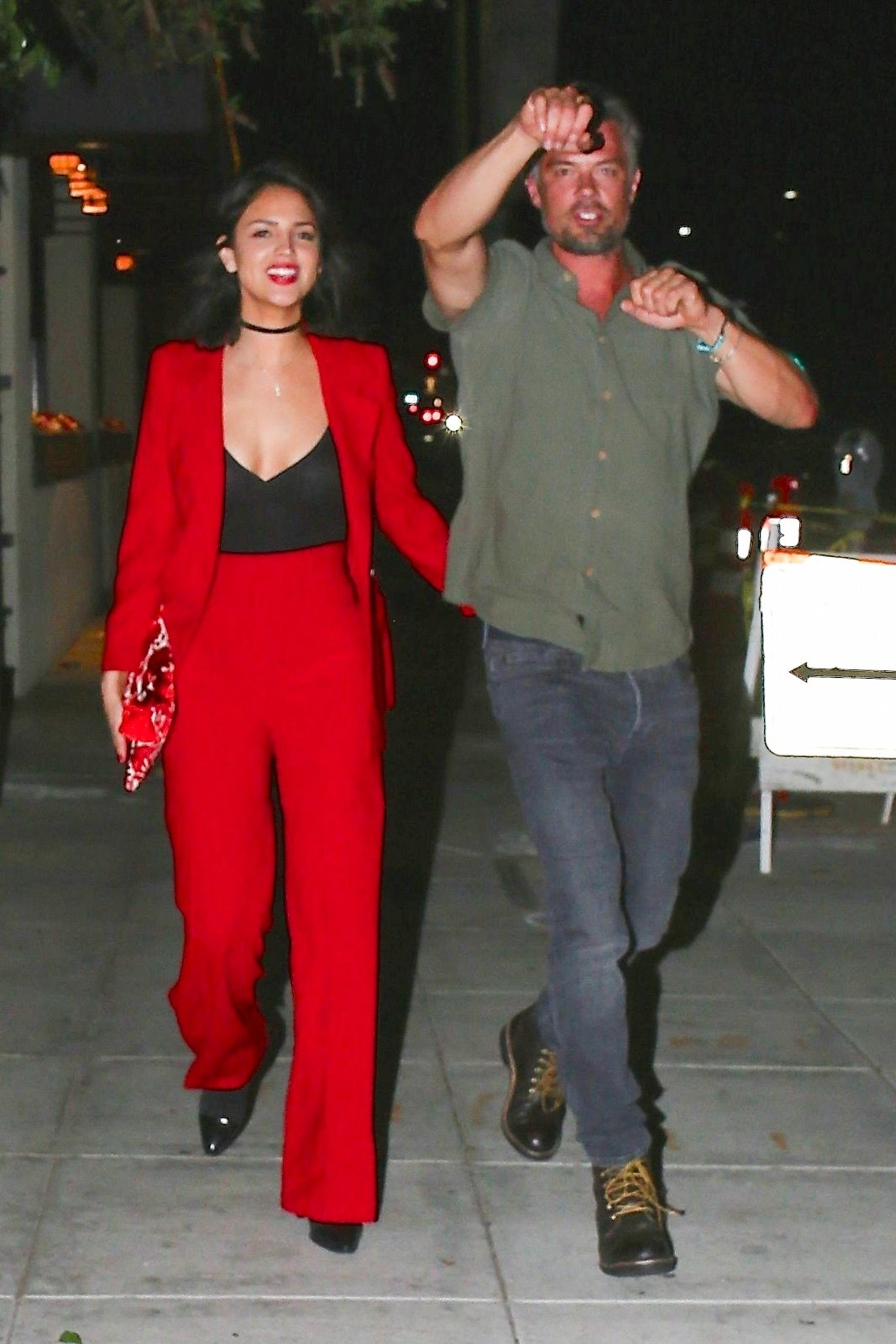 Beverly Hills, CA  - *PREMIUM-EXCLUSIVE*  - Rumored couple, Josh Duhamel and Eiza Gonzalez, confirming their secretive romance. The pair are all smiles as they exit a Beverly Hills restaurant. Eiza isn't hard to miss in a low cut red outfit while Josh keeps it casual. The pair seems loved up but as the cameras are noticed they try to distance themselves. Shot 06/08/18.  Pictured: Eiza Gonzalez, Josh Duhamel  BACKGRID USA 9 JUNE 2018, Image: 374321563, License: Rights-managed, Restrictions: , Model Release: no, Credit line: Profimedia, AKM-GSI