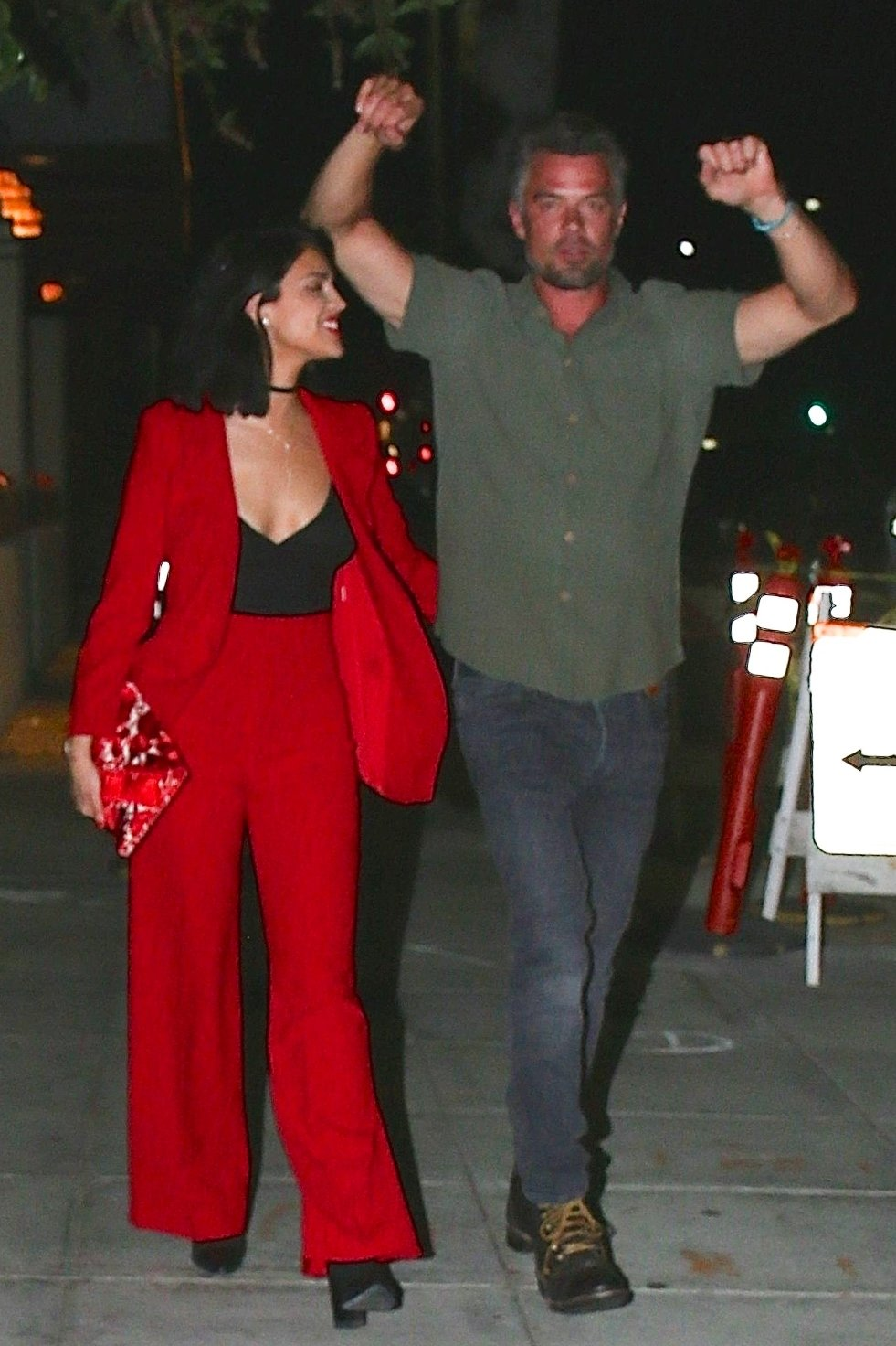 Beverly Hills, CA  - *PREMIUM-EXCLUSIVE*  - Rumored couple, Josh Duhamel and Eiza Gonzalez, confirming their secretive romance. The pair are all smiles as they exit a Beverly Hills restaurant. Eiza isn't hard to miss in a low cut red outfit while Josh keeps it casual. The pair seems loved up but as the cameras are noticed they try to distance themselves. Shot 06/08/18.  Pictured: Eiza Gonzalez, Josh Duhamel  BACKGRID USA 9 JUNE 2018, Image: 374321553, License: Rights-managed, Restrictions: , Model Release: no, Credit line: Profimedia, AKM-GSI