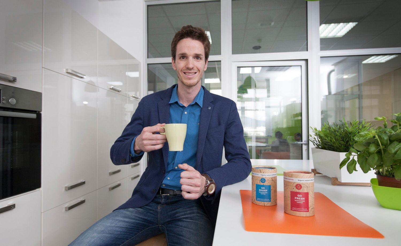 Split, 160518.  Stipe Rezic, tvorac startupa Mushroom Coffee, instan organske kave s gljivama. Foto: Bozidar Vukicevic / CROPIX