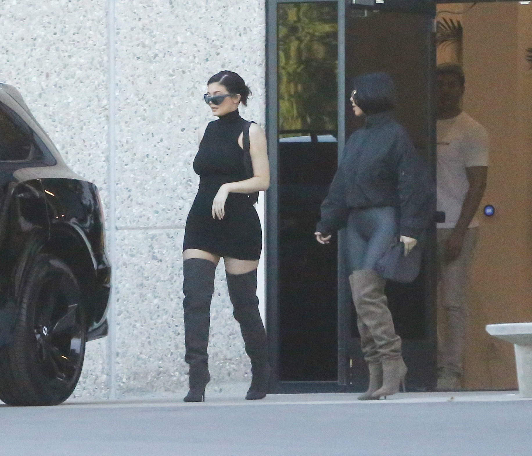 PREMIUM EXCLUSIVE Please contact X17 before any use of these exclusive photos - x17@x17agency.com   WOW! Kim Kardashian and Kylie Jenner are striking in  tight outfits in Calabasas June 11, 2018 X17online.com