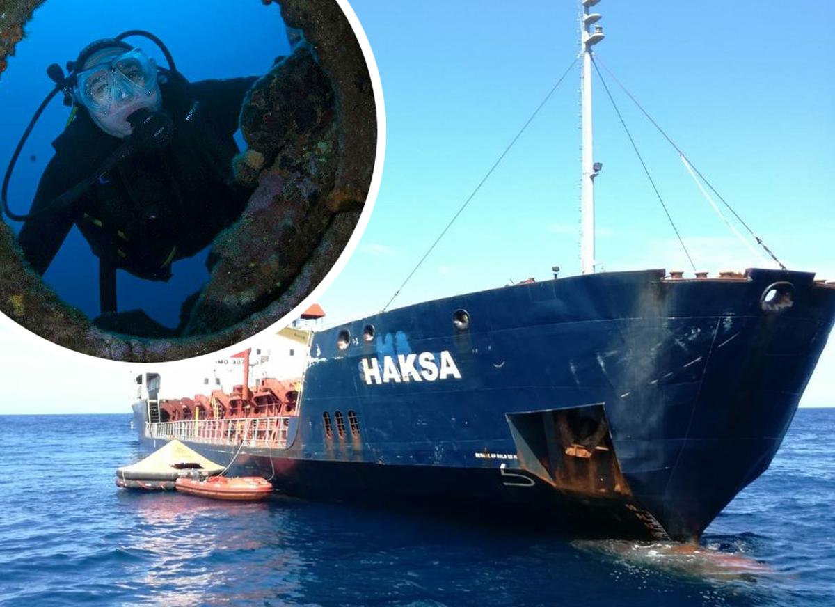 Na fotografiji: Turski teretni brod Haksa koji je doživio havariju kod otoka Jabuke; u krugu: Instruktor ronjenja i voditelj Manta Diving Centra Andy Marović