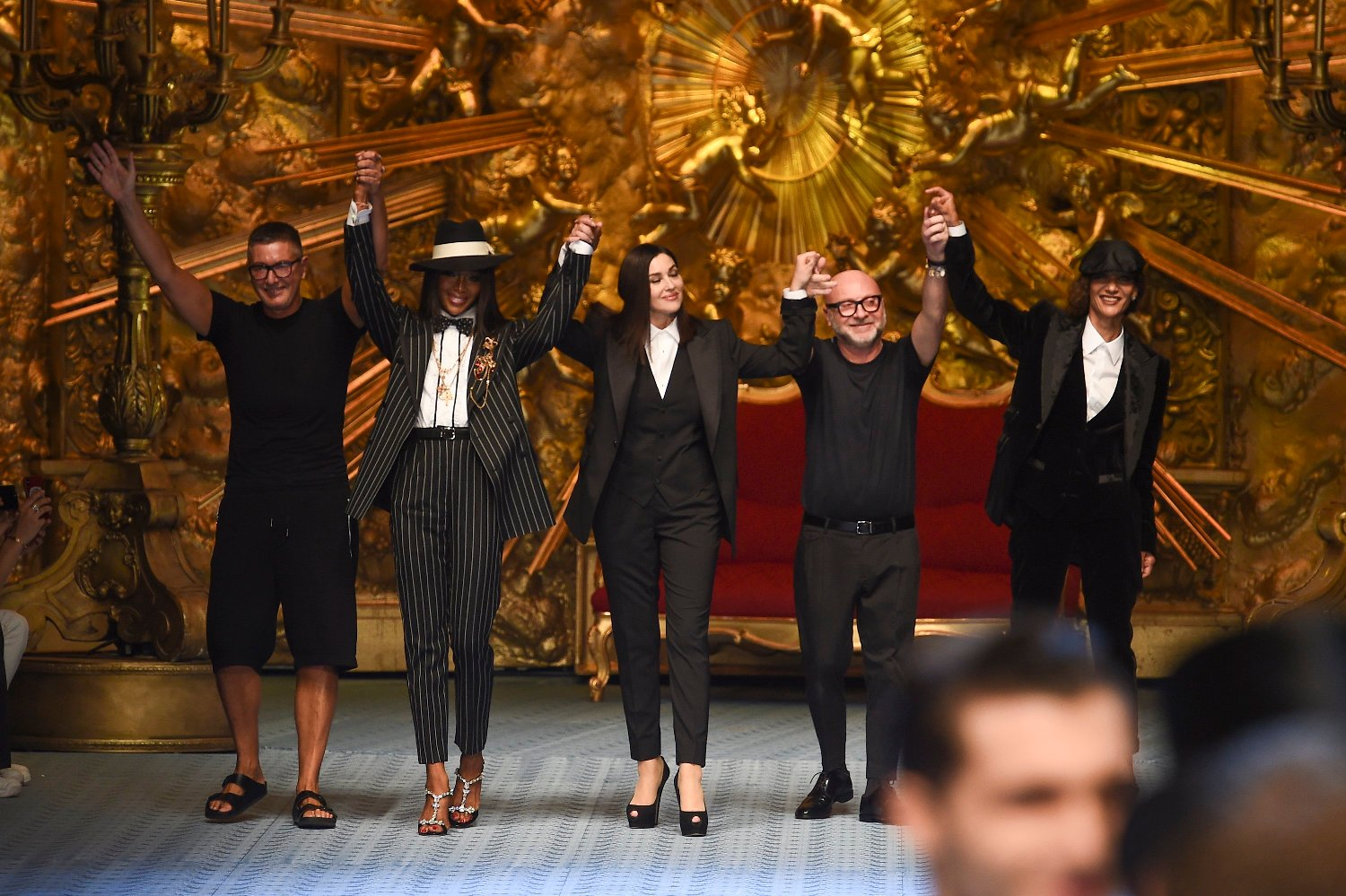 Stefano gabbana;naomi campbell;monica bellucci;domenico dolce;marpessa  Man Fashion Week SS 19 Dolce&Gabbana Catwalk Milan - Italy 16th june 2018 id  117946_003, Image: 375168220, License: Rights-managed, Restrictions: , Model Release: no, Credit line: Profimedia, SGP