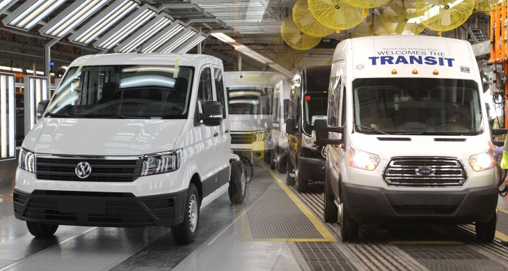 WRZESNIA, POLAND - 12 DECEMBER 2016: Brand new Volkswagen Crafter vans in the newly opened Volkswagen AG manufacturing plant in Bialezyce near Wrzesnia, Poland, on December 12th, 2016. The factory makes Volkswagen Crafter delivery vans. (Photo by Wojtek Laski/Getty Images)
