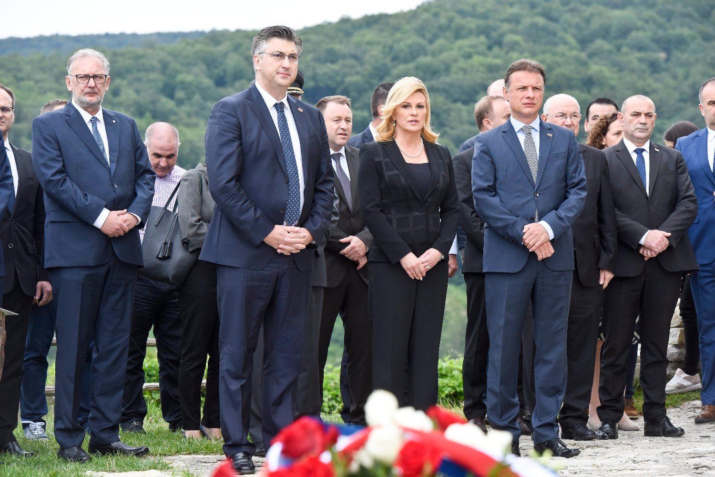 Na fotografiji: Davor Božinović, Gordan Jandroković, Kolinda Grabar Kitarović, Andrej Plenković, Mate Granić i Tomo Medved