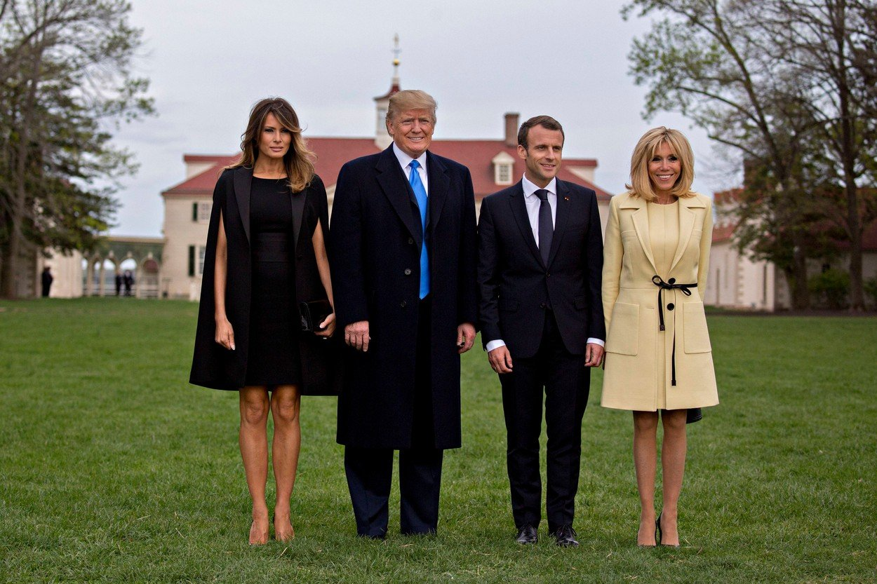 United States President Donald J. Trump and first lady Melania Trump welcome French President Emmanuel Macron and Brigitte Macron to the West Wing of the White House, in Washington, April 23, 2018 Credit: Martin H. Simon / CNP. 23 Apr 2018 S. First Lady Melania Trump, from left, U.S. President Donald Trump, Emmanuel Macron, France's president, and Brigitte Macron, France's first lady, stand for photographers outside the Mansion at the Mount Vernon estate of first U.S. President George Washington in Mount Vernon, Virginia, U.S., on Monday, April 23, 2018. As Macron arrives for the first state visit of Trump's presidency, the U.S. leader is threatening to upend the global trading system with tariffs on China, maybe Europe too.  Credit: Andrew Harrer / Pool via CNP., Image: 369471965, License: Rights-managed, Restrictions: NO Australia, New Zealand, Model Release: no, Credit line: Profimedia, Mega Agency