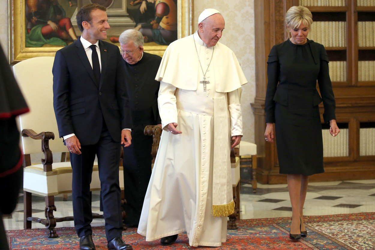 Pope Francis meets the French President Emmanuel Macron and his wife Brigitte during a private audience at the Apostolic Palace on June 26, 2018 in Vatican City, Vatican., Image: 376103252, License: Rights-managed, Restrictions: , Model Release: no, Credit line: Profimedia, Abaca
