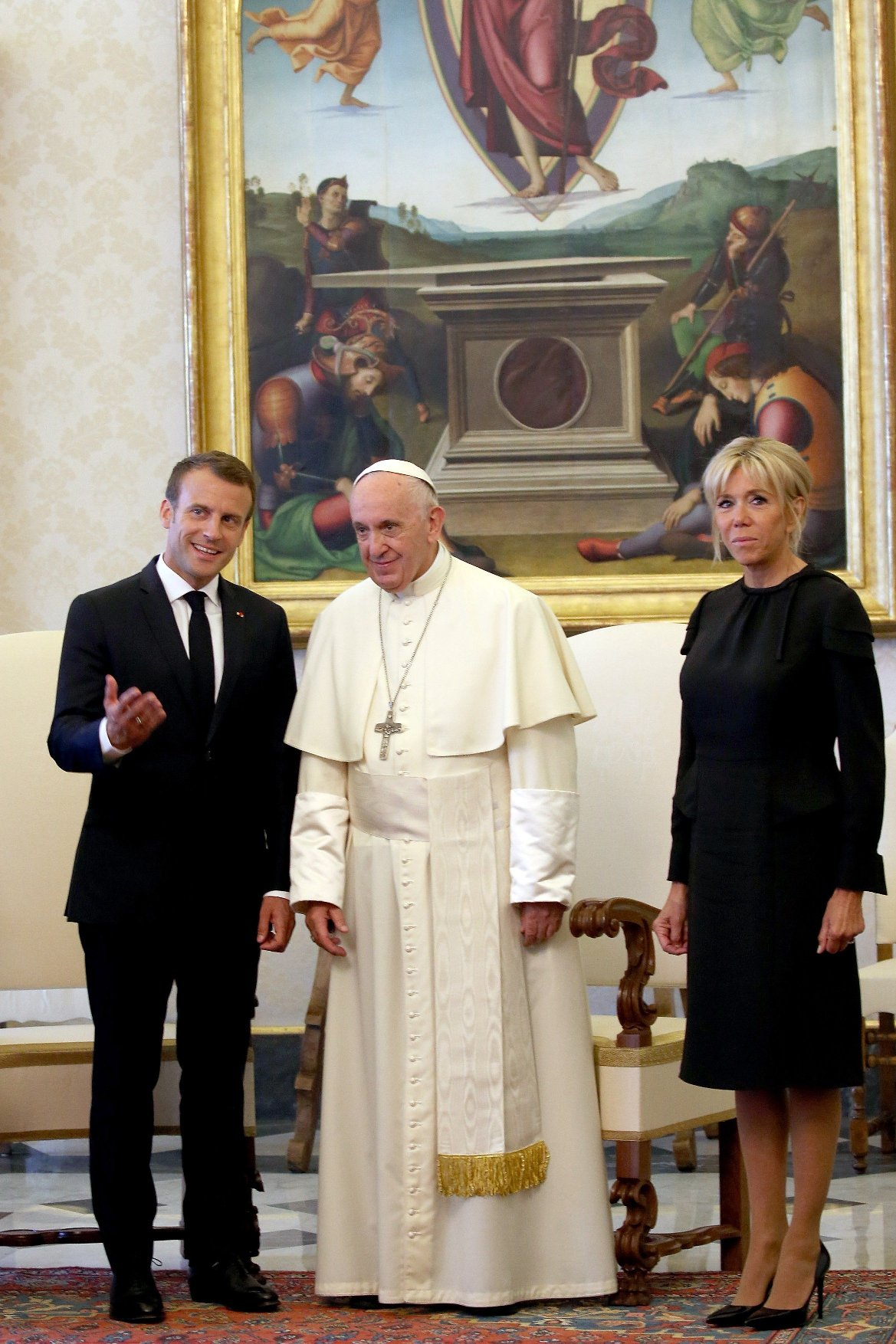 Pope Francis meets the French President Emmanuel Macron and his wife Brigitte during a private audience at the Apostolic Palace on June 26, 2018 in Vatican City, Vatican., Image: 376103357, License: Rights-managed, Restrictions: , Model Release: no, Credit line: Profimedia, Abaca