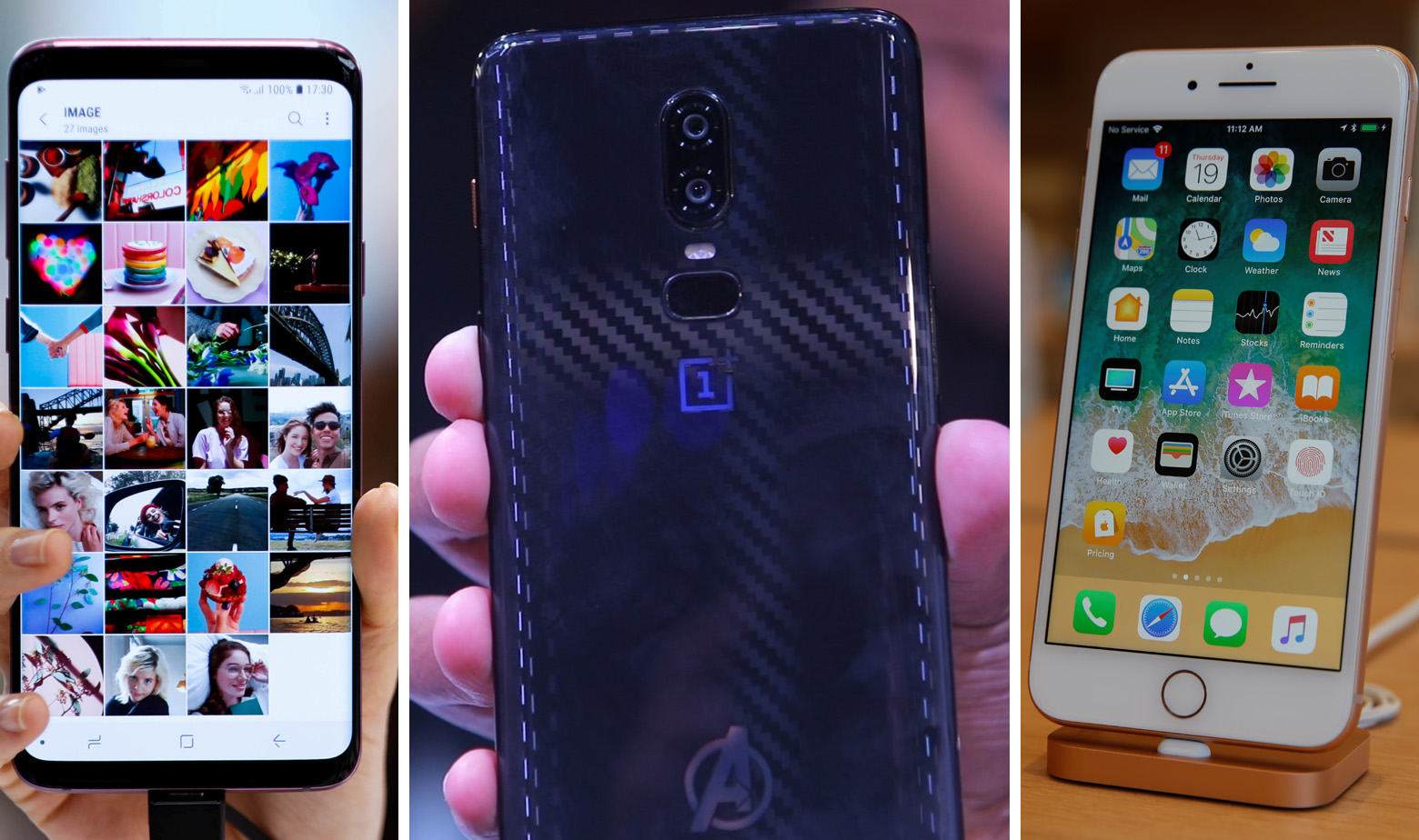 Samsung Galaxy S9 Plus, One Plus 6, Apple iPhone 8 Plus