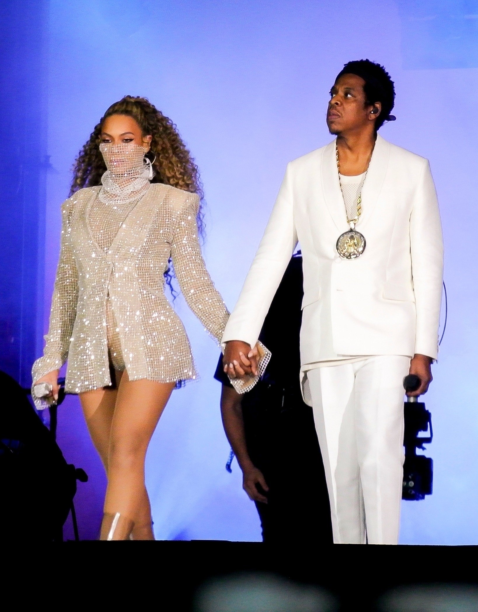 BGUK_1255687 - Cardiff, UNITED KINGDOM  - Beyonce Knowles and Jay Z on stage in concert performing live as they open their On The Run II World tour in Cardiff at the Principality Stadium. Beyonce wore a number of different outfits during her performance.  Pictured: Beyonce Knowles, Jay Z  BACKGRID UK 6 JUNE 2018, Image: 374068484, License: Rights-managed, Restrictions: , Model Release: no, Credit line: Profimedia, Xposurephotos