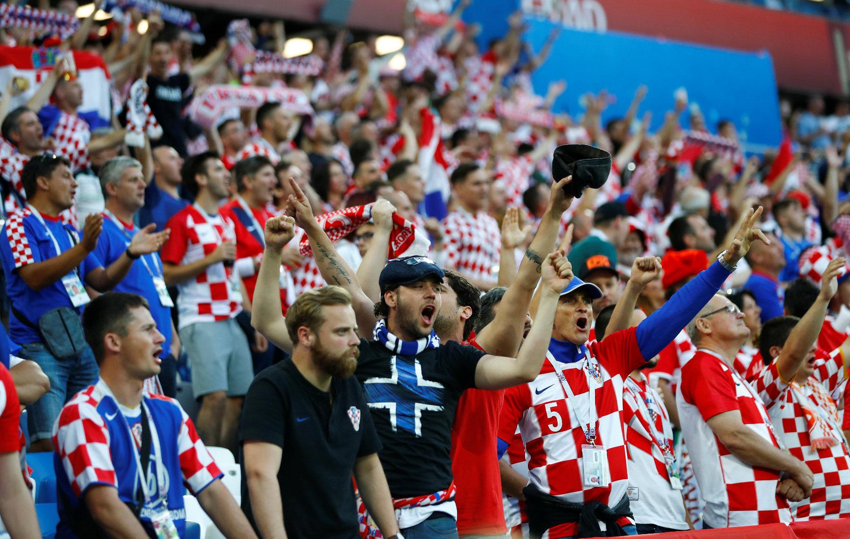 Soccer Football - World Cup - Group D - Croatia vs Nigeria - Kaliningrad Stadium, Kaliningrad, Russia - June 16, 2018   Croatia fans inside the stadium before the match    REUTERS/Fabrizio Bensch