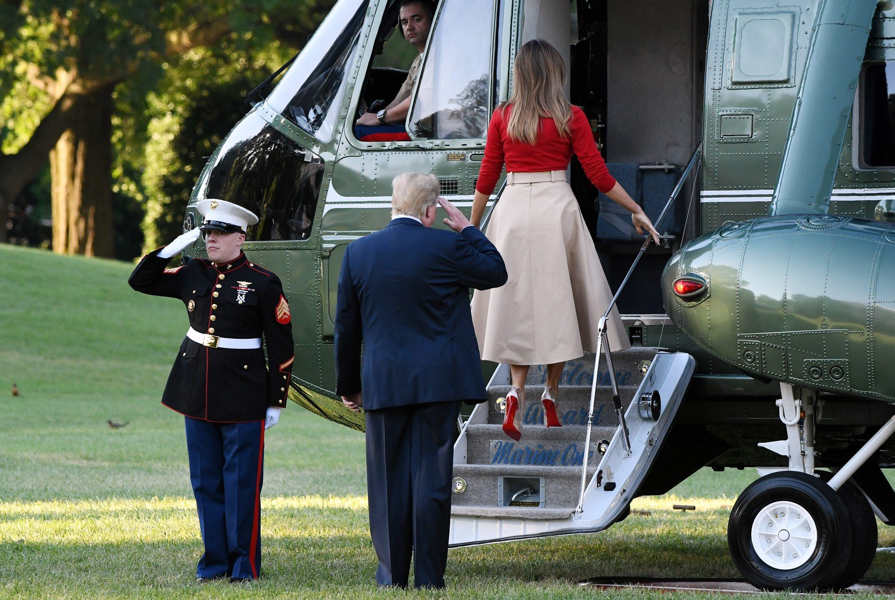 U.S. President Donald Trump and First Lady Melania Trump depart the White House en route to Brussels, Belgium, July 10, 2018 in Washington, DC., Image: 377430093, License: Rights-managed, Restrictions: , Model Release: no, Credit line: Profimedia, Abaca