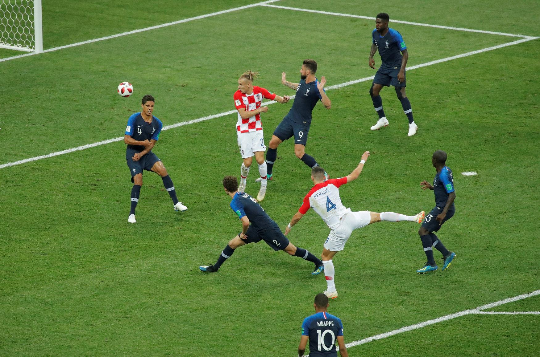 Soccer Football - World Cup - Final - France v Croatia - Luzhniki Stadium, Moscow, Russia - July 15, 2018  Croatia's Ivan Perisic scores their first goal   REUTERS/Maxim Shemetov