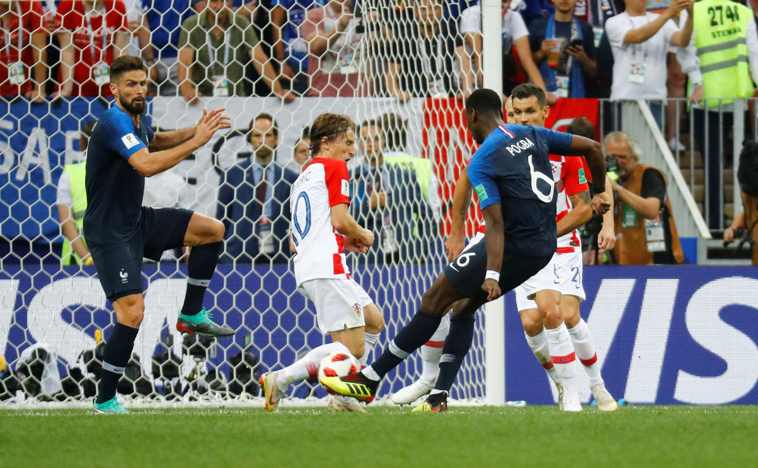 Soccer Football - World Cup - Final - France v Croatia - Luzhniki Stadium, Moscow, Russia - July 15, 2018  France's Paul Pogba scores their third goal   REUTERS/Kai Pfaffenbach
