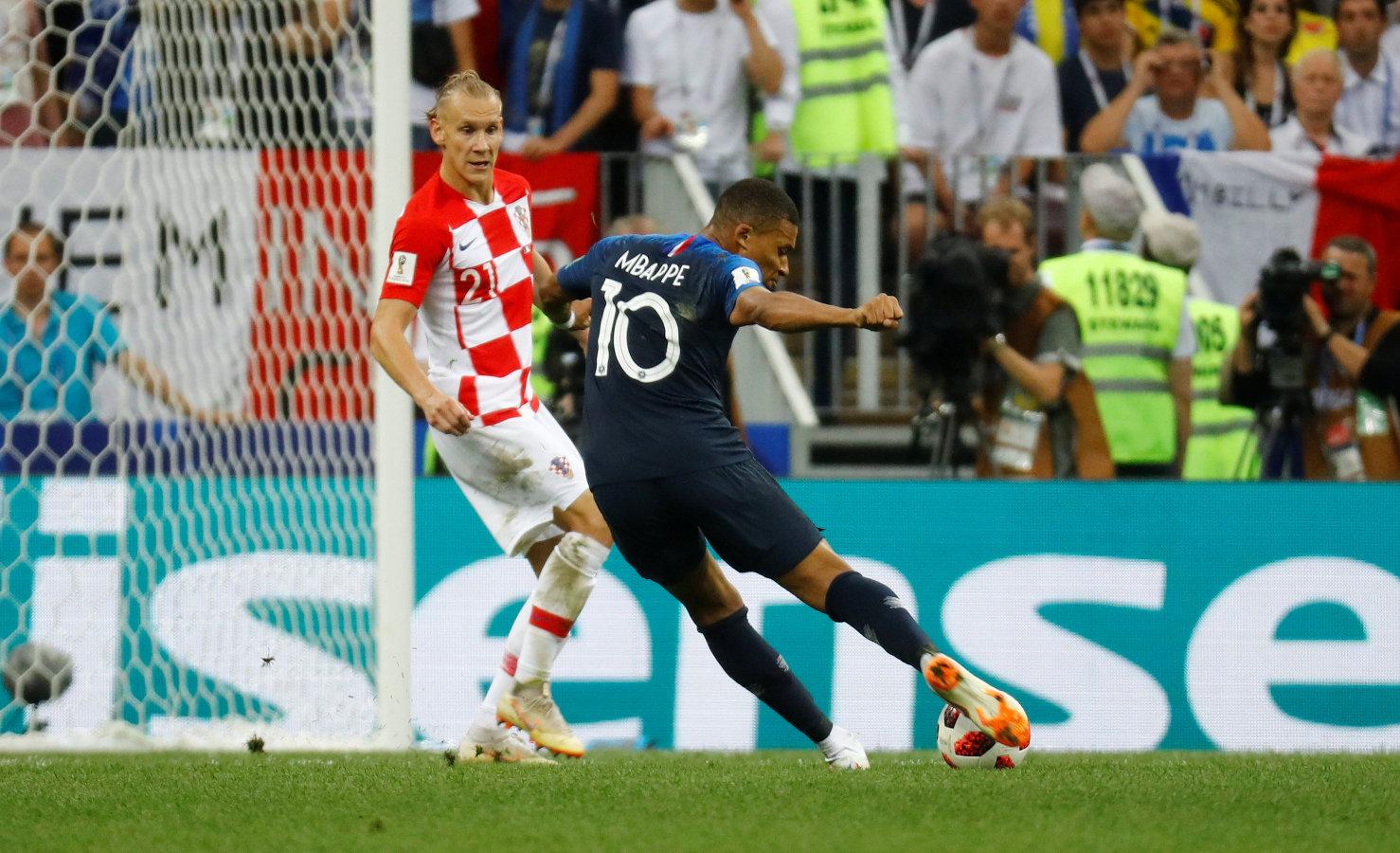 Soccer Football - World Cup - Final - France v Croatia - Luzhniki Stadium, Moscow, Russia - July 15, 2018  France's Kylian Mbappe scores their fourth goal   REUTERS/Kai Pfaffenbach