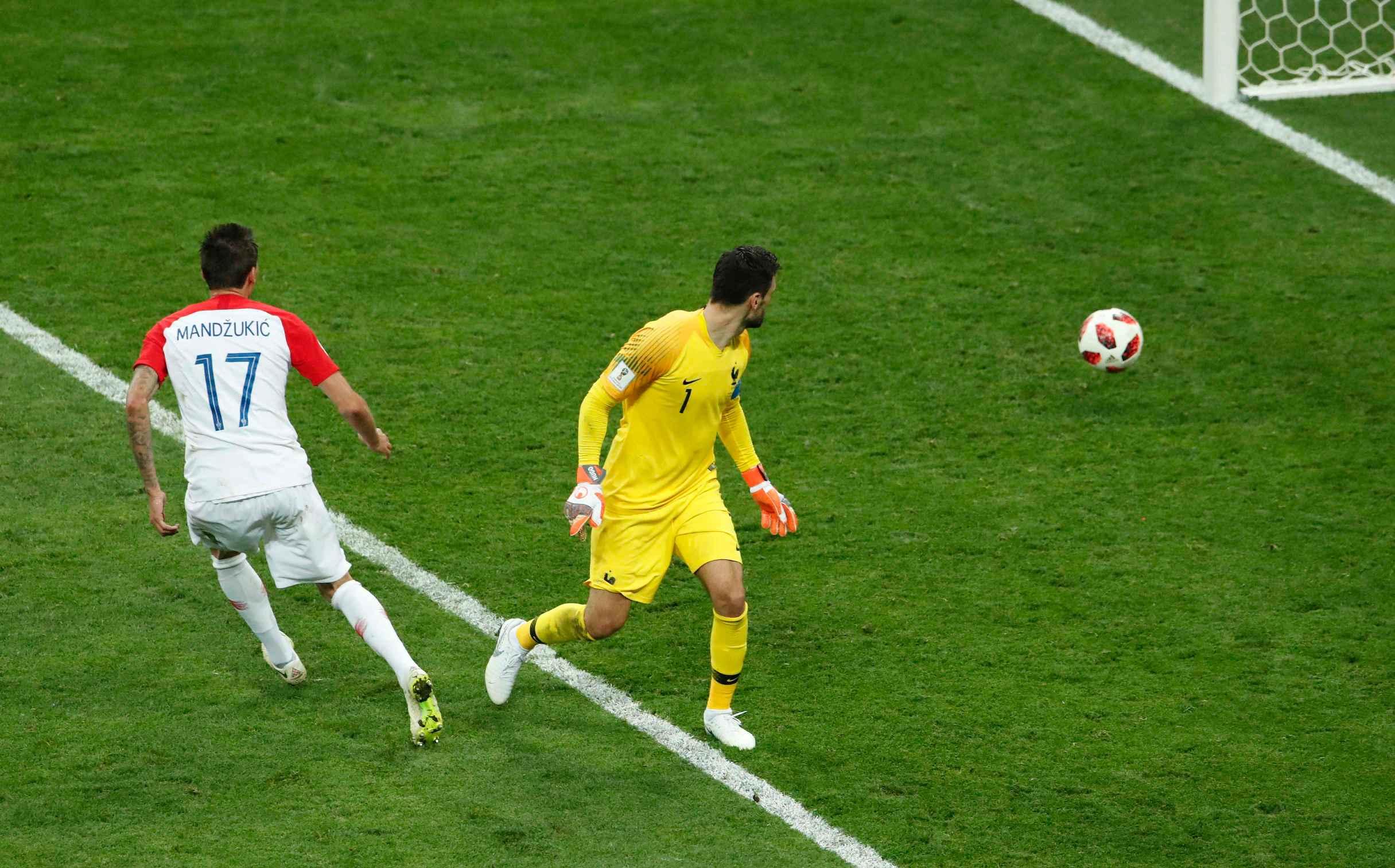 Soccer Football - World Cup - Final - France v Croatia - Luzhniki Stadium, Moscow, Russia - July 15, 2018 Croatia's Mario Mandzukic scores their second goal REUTERS/Maxim Shemetov