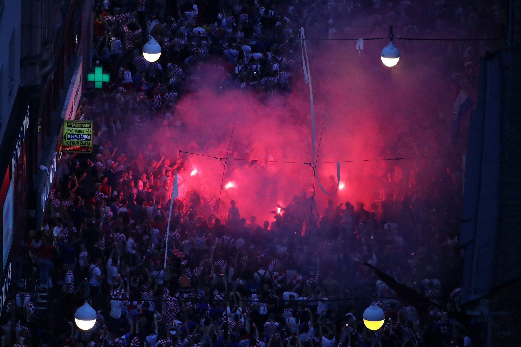 Soccer Football - World Cup - The Croatia team return from the World Cup in Russia - Zagreb, Croatia - July 16, 2018   Croatia fans with flares   REUTERS/Marko Djurica