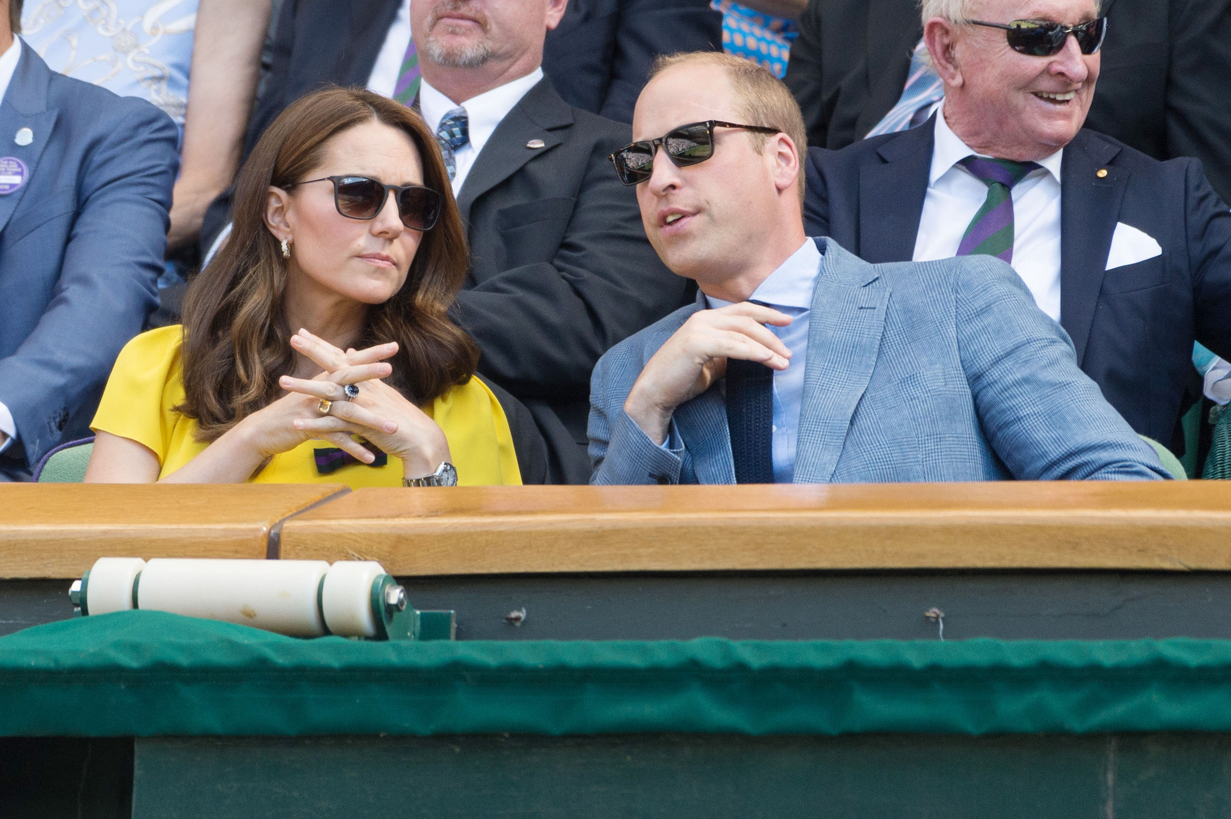 July 15, 2018 - London, United Kingdom - The mens singles finals in the royal box on the 13th day of the Wimbledon Tennis Championships 2018 held at the All England Lawn Tennis and Croquet Club. (Credit Image: ? Ray Tang via ZUMA Press)  Pictured: Catherine,Duchess of Cambridge,Prince William and Duke of Cambridge Ref: SPL5010143 150718 NON-EXCLUSIVE Picture by: SplashNews.com  Splash News and Pictures Los Angeles: 310-821-2666 New York: 212-619-2666 London: 0207 644 7656 Milan: +39 02 4399 8577 Sydney: +61 02 9240 7700 photodesk@splashnews.com  World Rights, No Argentina Rights, No Belgium Rights, No China Rights, No Czechia Rights, No Finland Rights, No Hungary Rights, No Japan Rights, No Mexico Rights, No Netherlands Rights, No Norway Rights, No Peru Rights, No Portugal Rights, No Slovenia Rights, No Sweden Rights, No Switzerland Rights, No Taiwan Rights