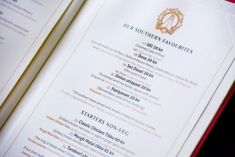 Zagreb, 120718. Selska 217. U neposrednoj blizini Savskog mosta otvoren je vrhunski indisjski restoran Namaste. Na fotografiji: dio jelovnika. Foto: Darko Tomas / CROPIX