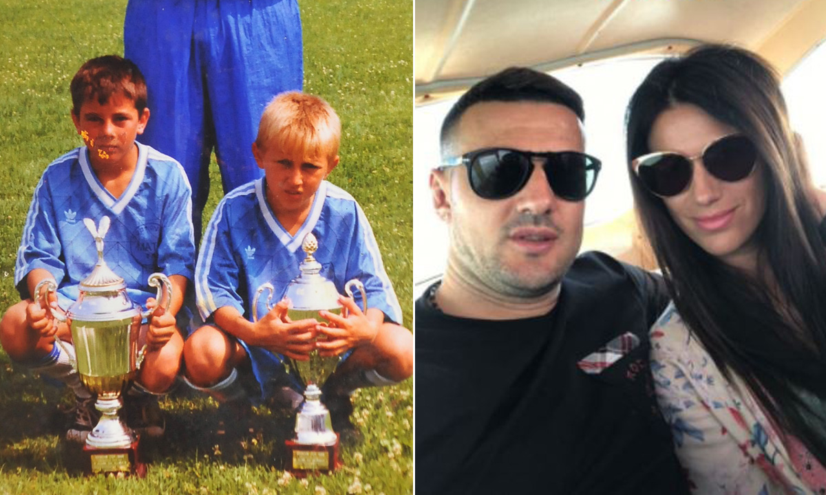 Danijel Subašić i Luka Modrić kao djeca u klubu s trenerom; Subašić s dugogodišnjom djevojkom Antonijom Bozzom